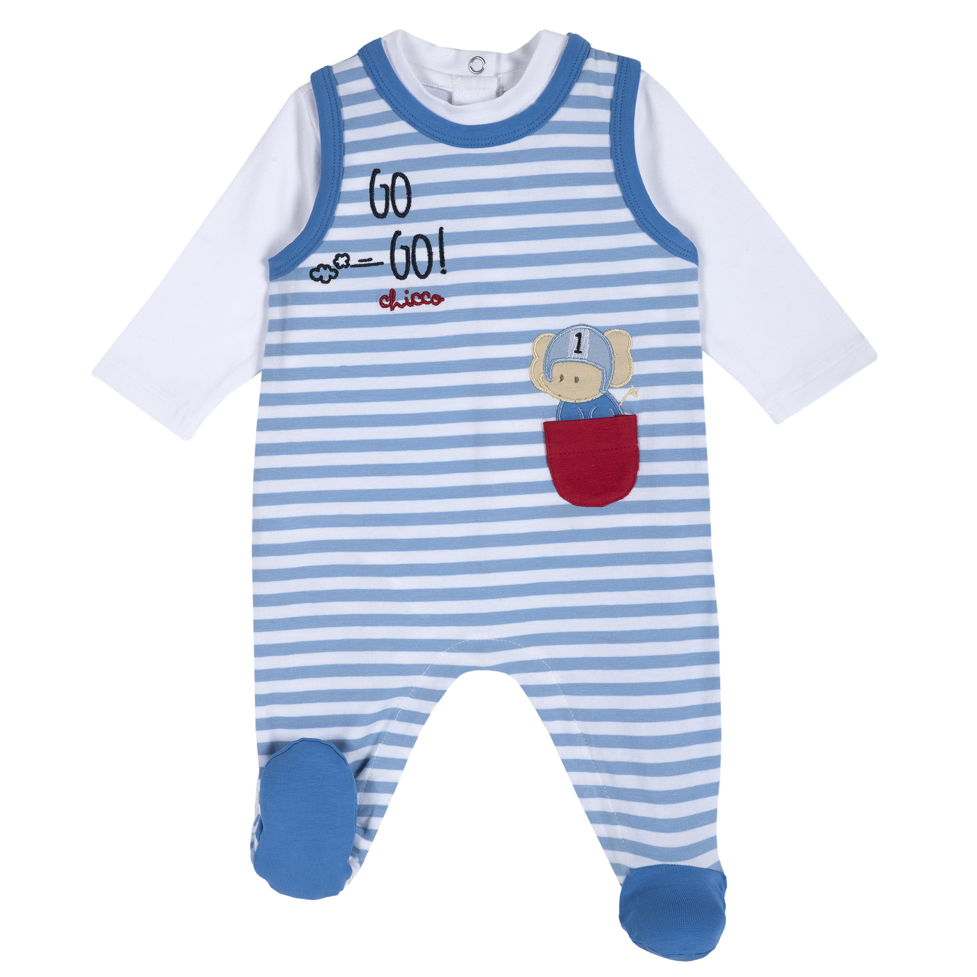 Set body si salopeta bebe Chicco, alb cu bleu, 77914 din categoria Salopete/Body