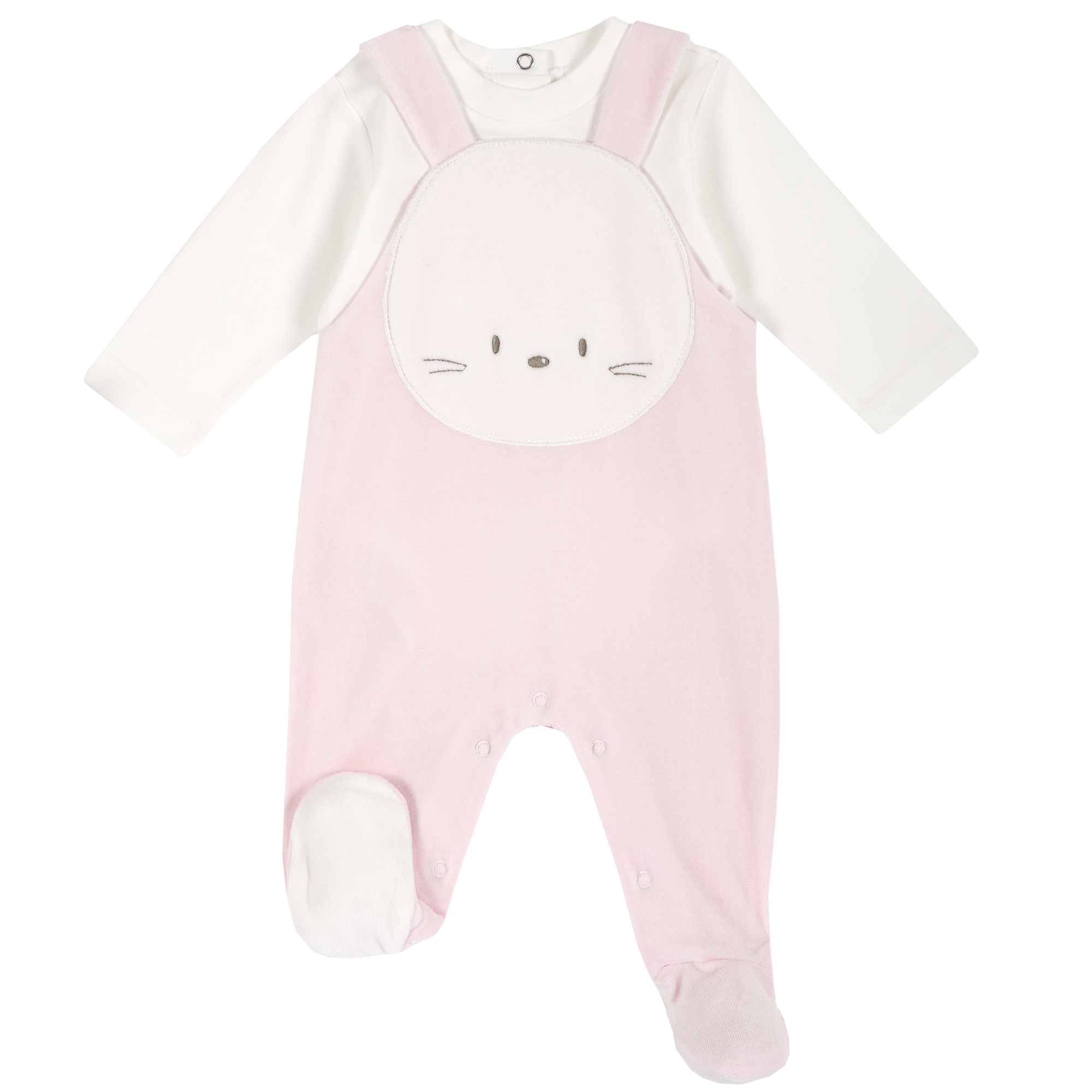 Set body si salopeta bebe Chicco, botosei, maneca lunga, roz, 77948