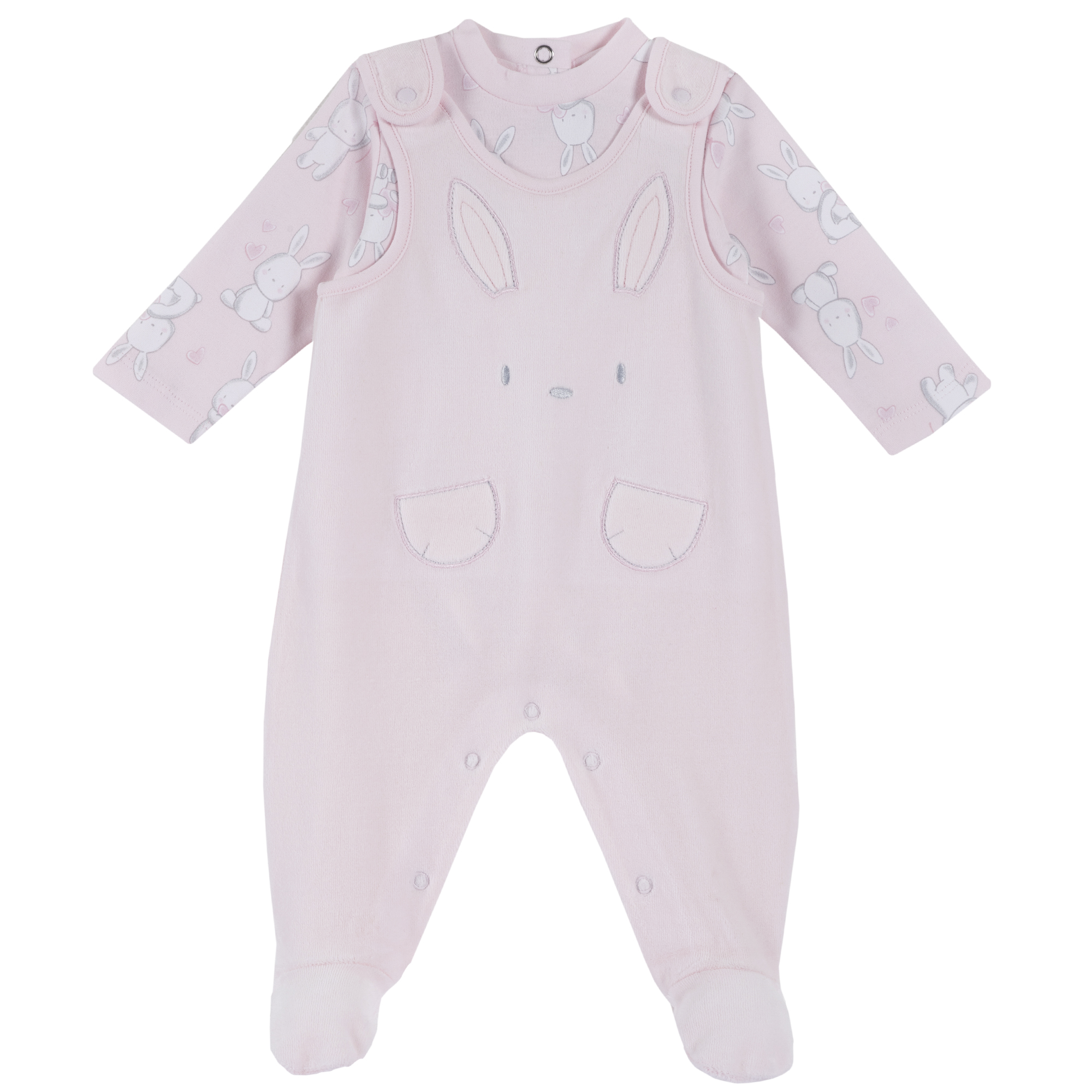 Set body bebe si salopeta Chicco, botosei inclusi, roz, 77965 din categoria Set doua piese