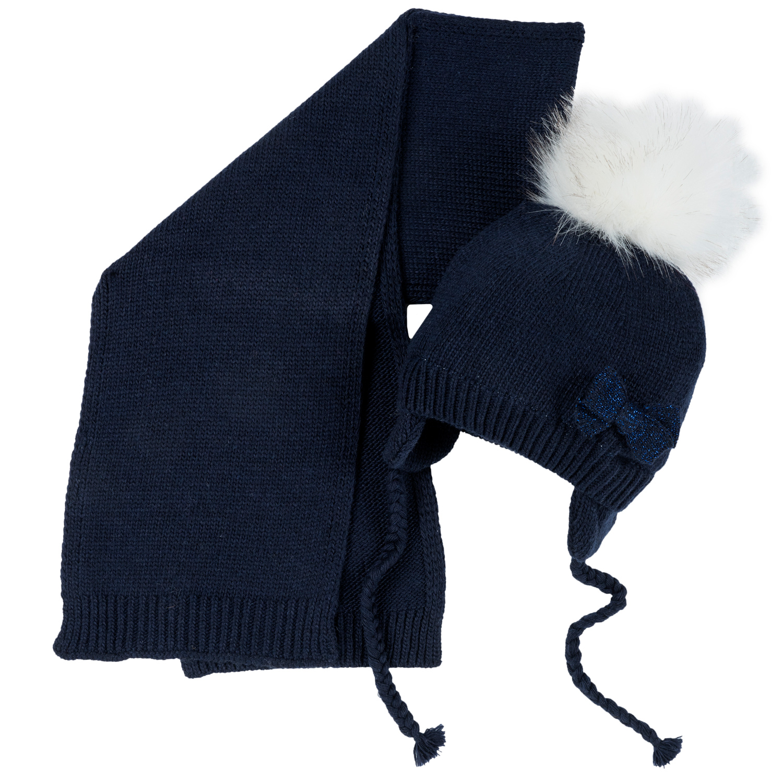 Set Caciula + Fular Copii Chicco, Albastru Inchis