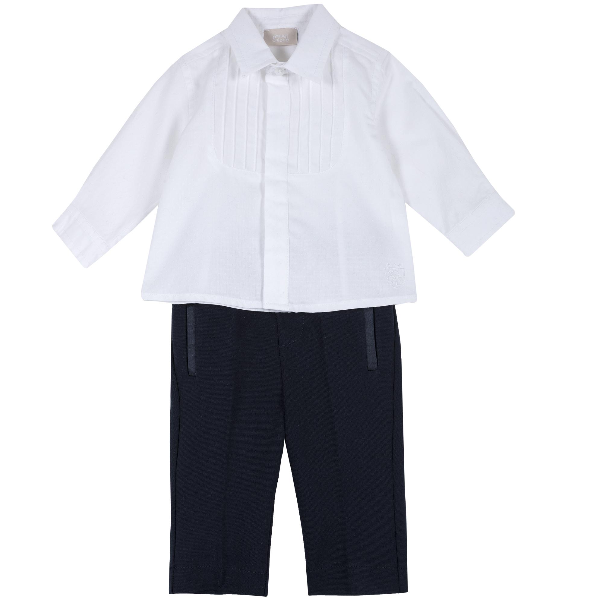 Costum botez copii Chicco, camasa si pantaloni, albastru, 76369 din categoria Set doua piese