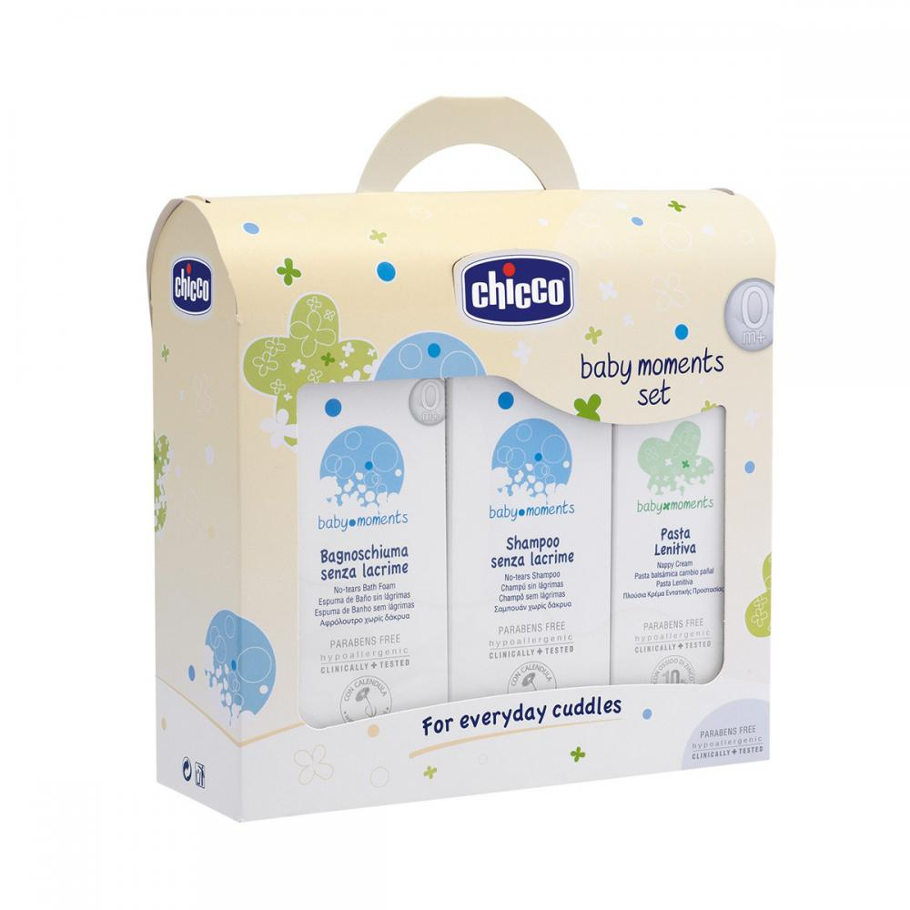 Set cosmetice Chicco Baby Moments, sampon, spuma si crema antiiritanta