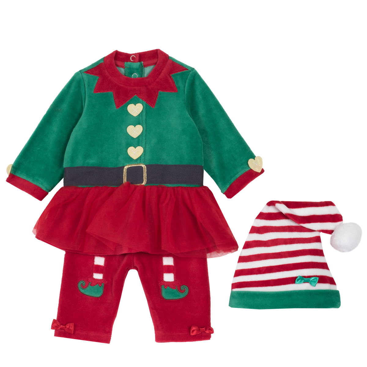 Set costumas Chicco spiridus fata, verde cu rosu, 76352 din categoria My First Christmas