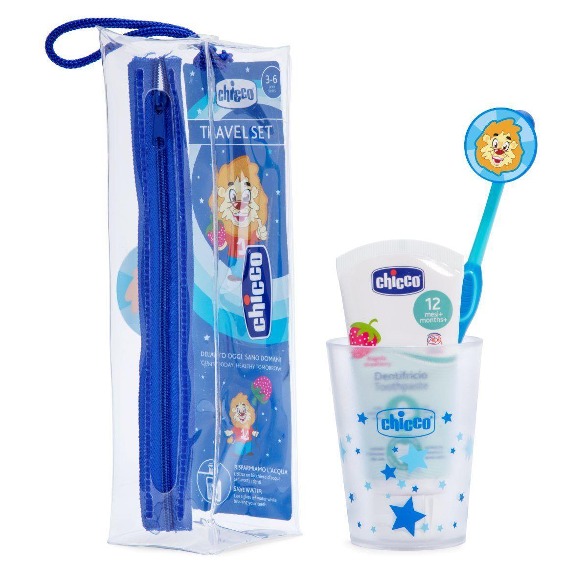 Set de igiena orala Chicco, albastru, 36luni+ (pasta dinti, periuta, pahar, etui)