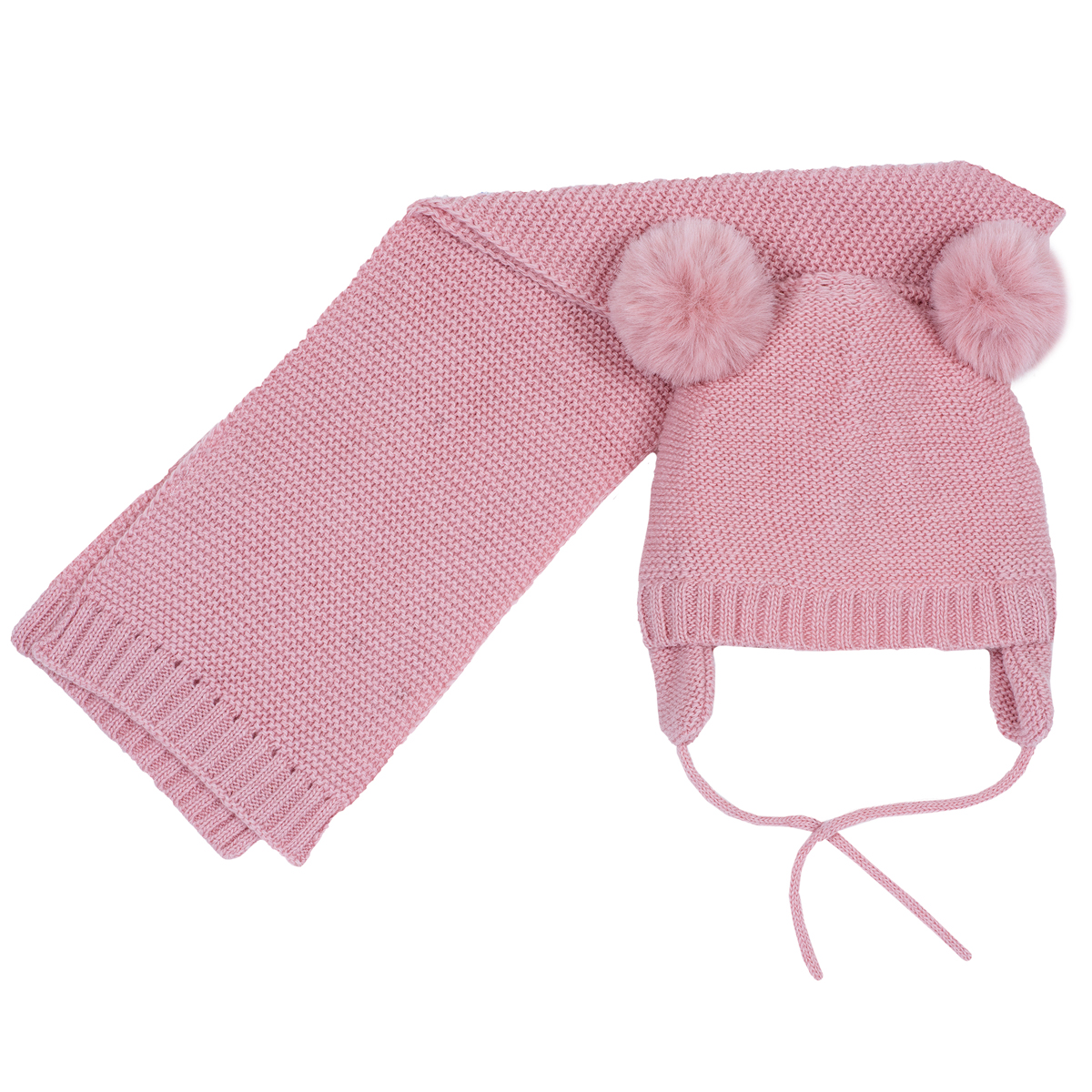 Set caciula copii si fular, tricotate, corai, 04493