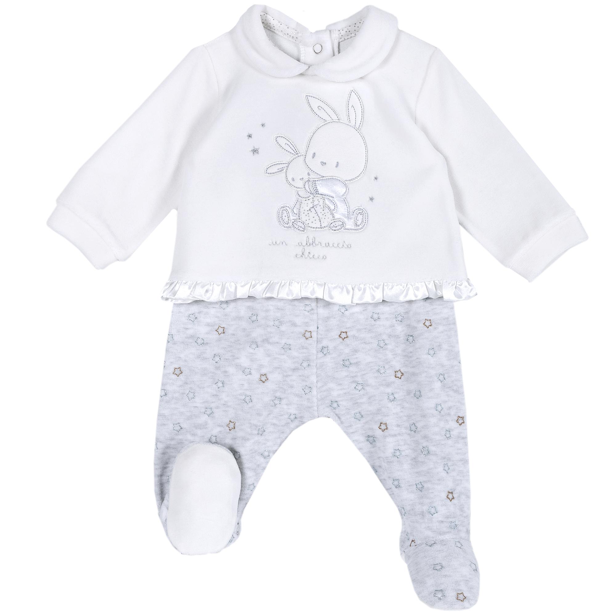 Set pantalon + bluza copii Chicco, alb