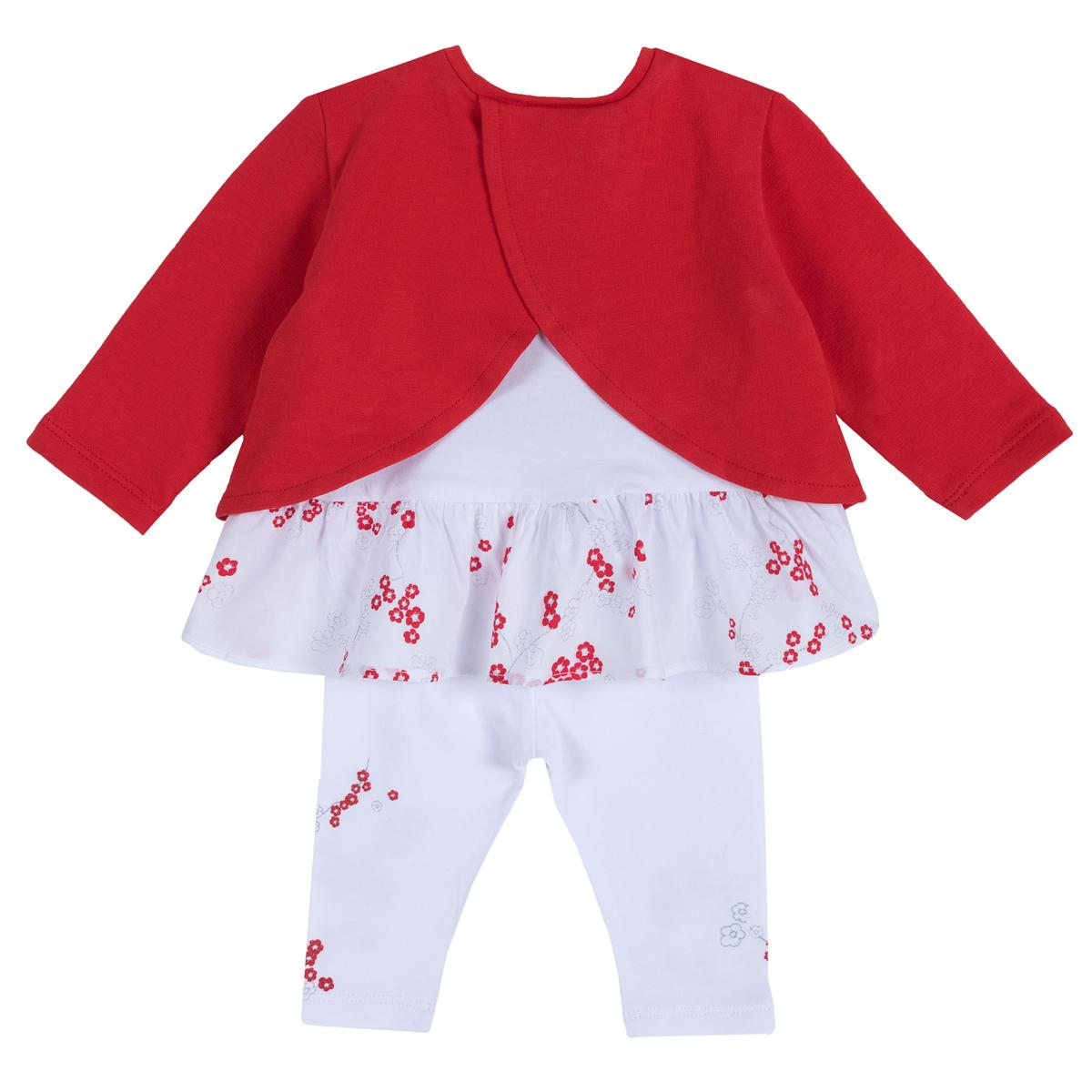 Set pantaloni si bluza pentru fetite Chicco, alb cu rosu, 77917