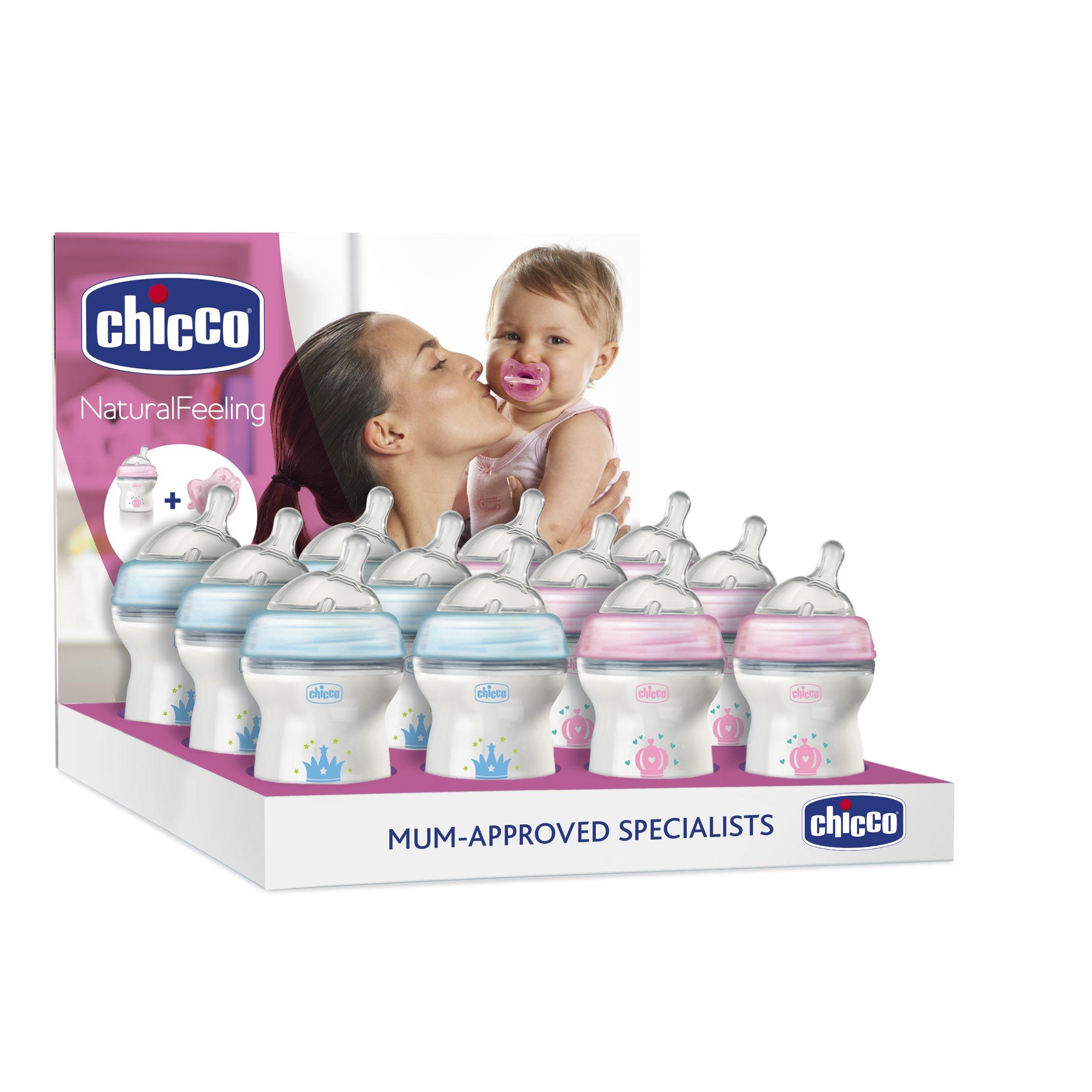 Set Promo Chicco Biberon 150ml Si Suzeta Silicon, Albastru, 0luni+ imagine