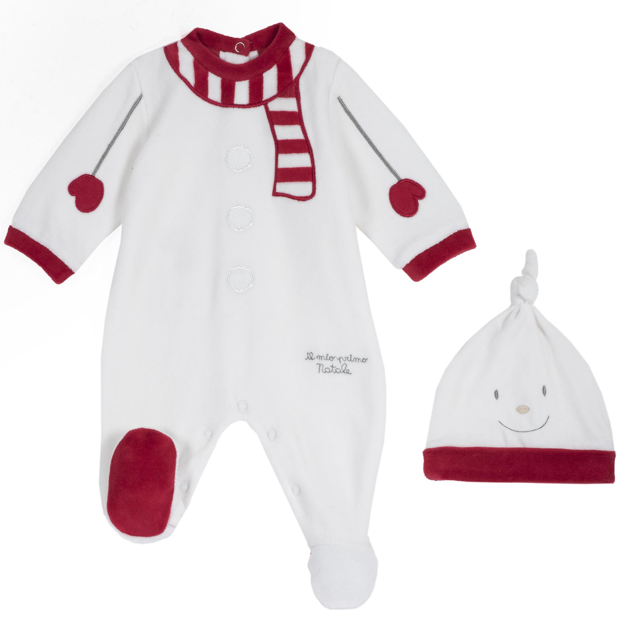 Set salopeta velur bebelusi Chicco, Craciun, alb cu model, 21915