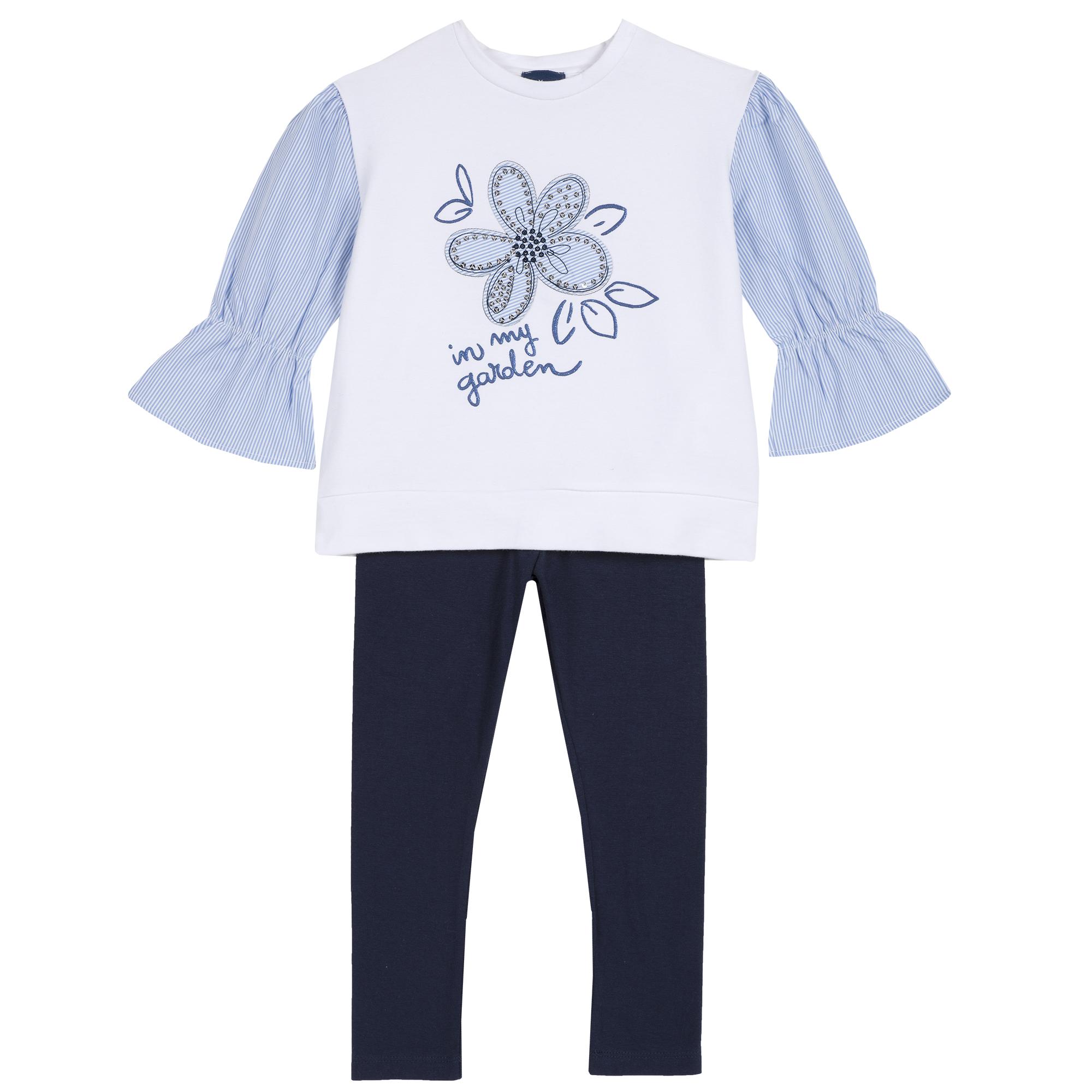 Set bluzita si leggings fetite, Chicco, alb cu albastru, 76303