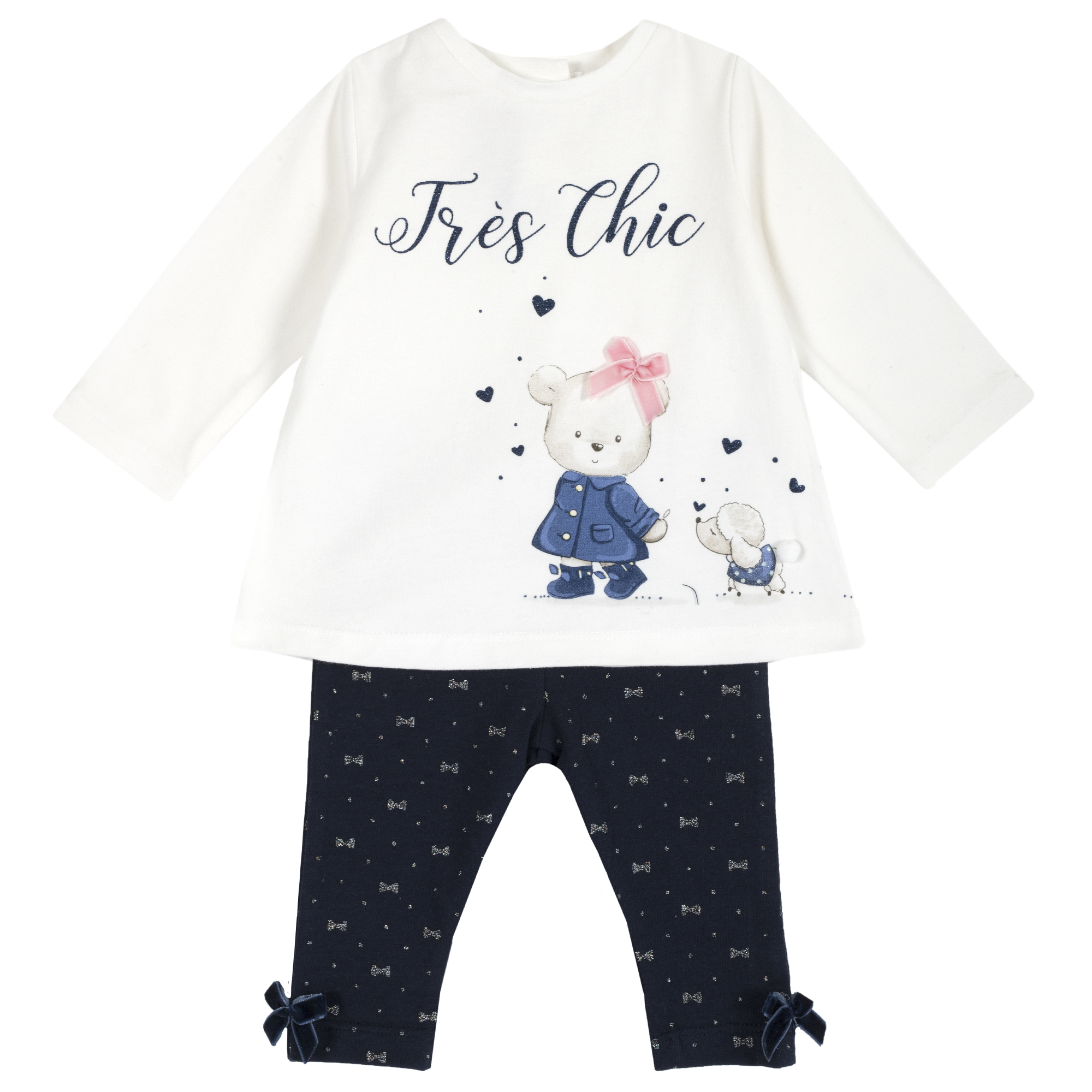 Set tricou si colanti copii Chicco, imprimeu animale, 77986 din categoria Set doua piese
