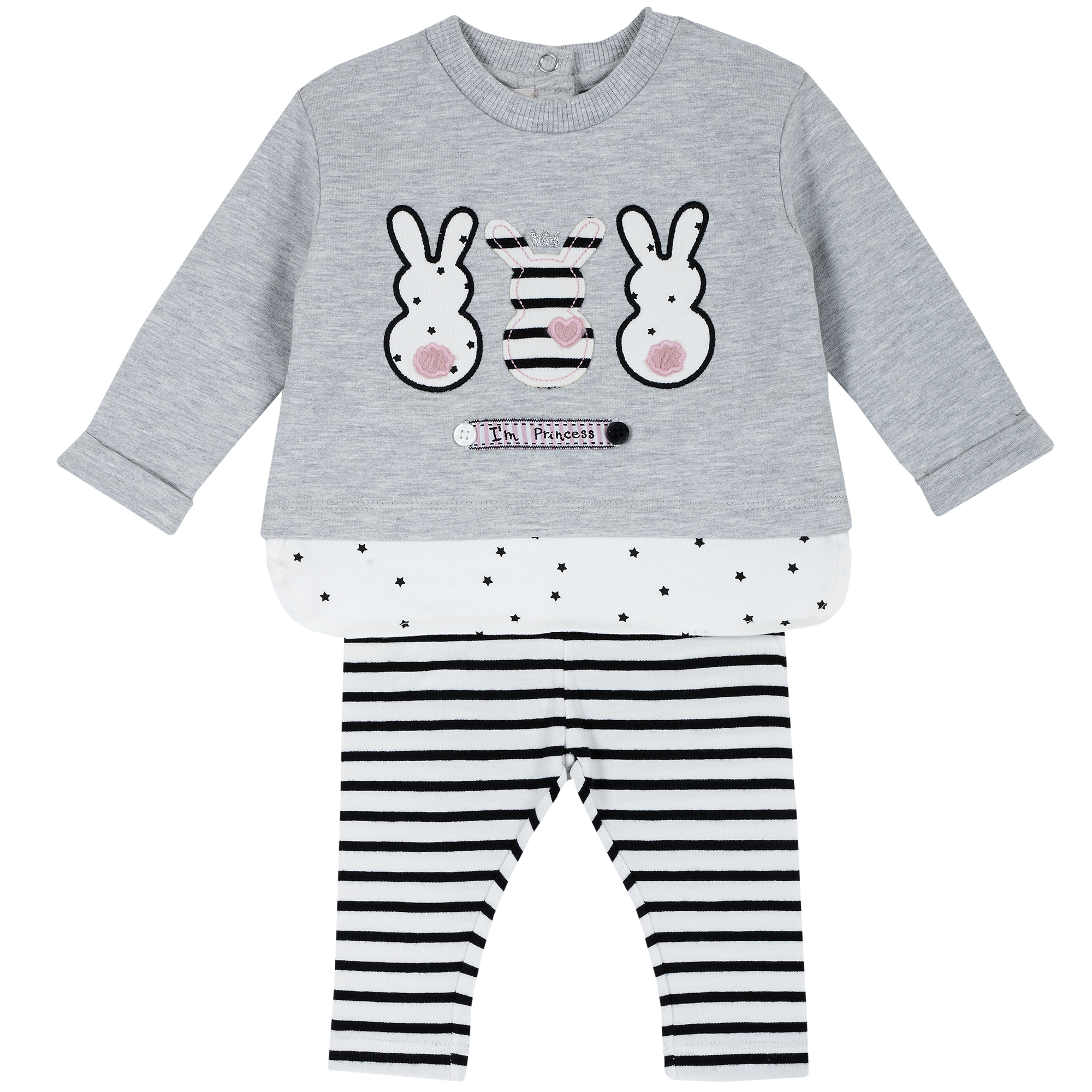 Set tricou si colanti copii Chicco, gri, imprimeu iepurasi, 76332