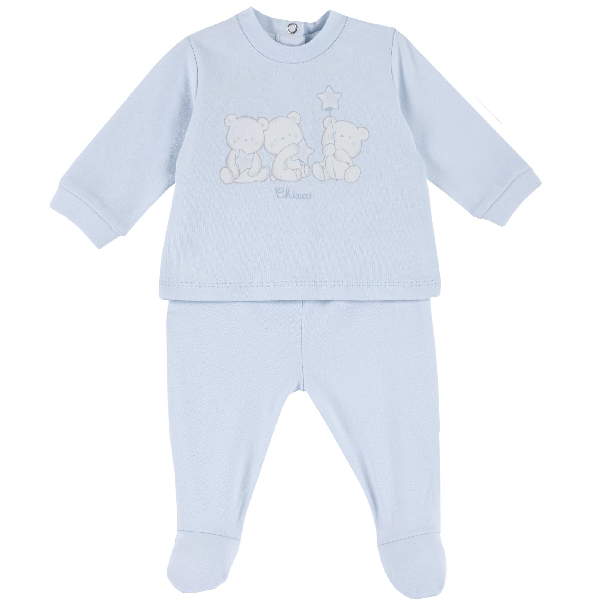 Set tricou si pantaloni Chicco, botosei incorporati, imprimeu animalute, 77967 din categoria Set doua piese