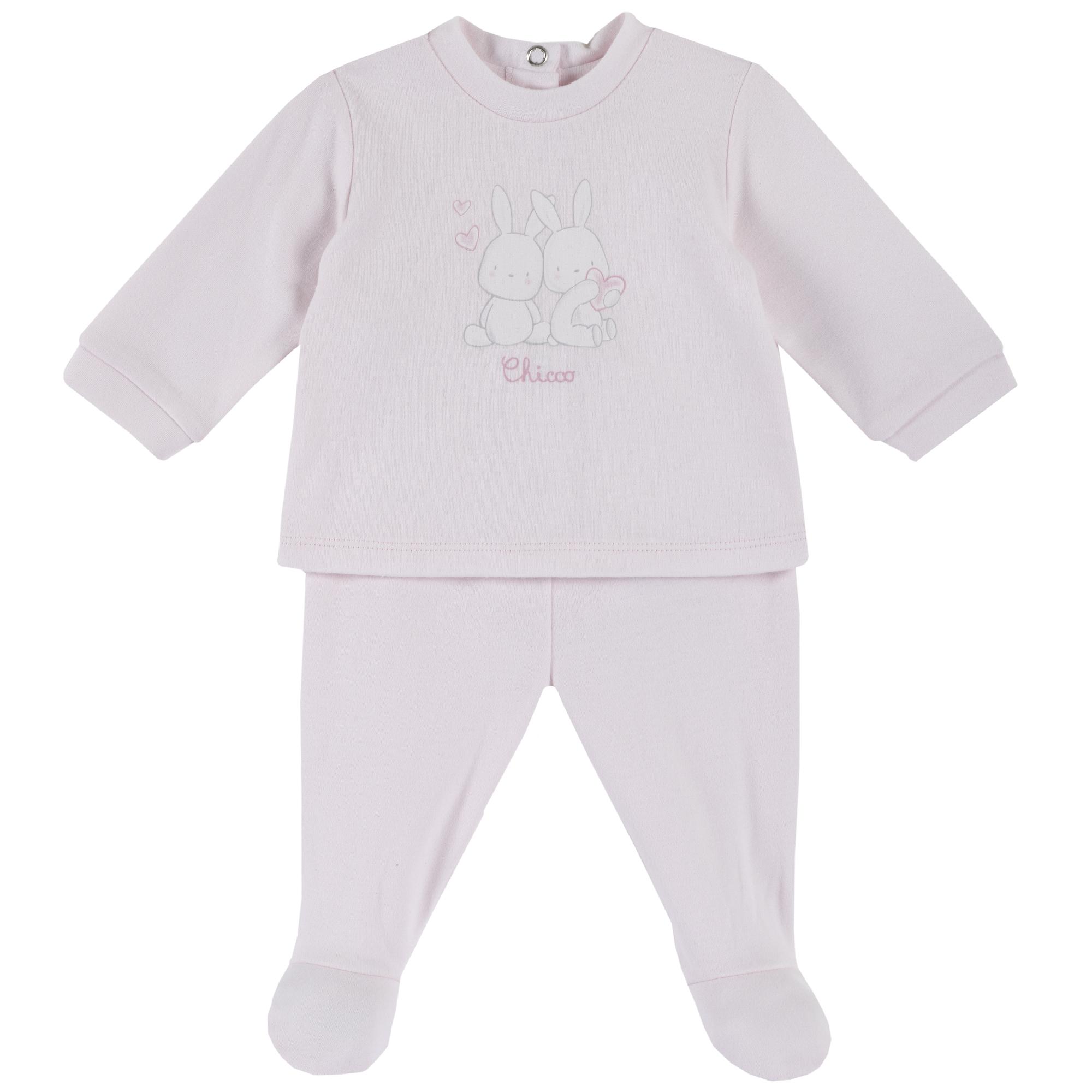 Set tricou si pantaloni Chicco, botosei incorporati, imprimeu animalute, roz, 77967