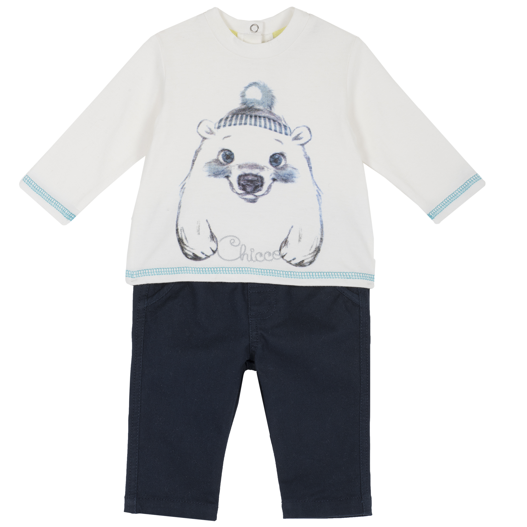 Set tricou si pantaloni Chicco, imprimeu urs polar, 76341 din categoria Set doua piese