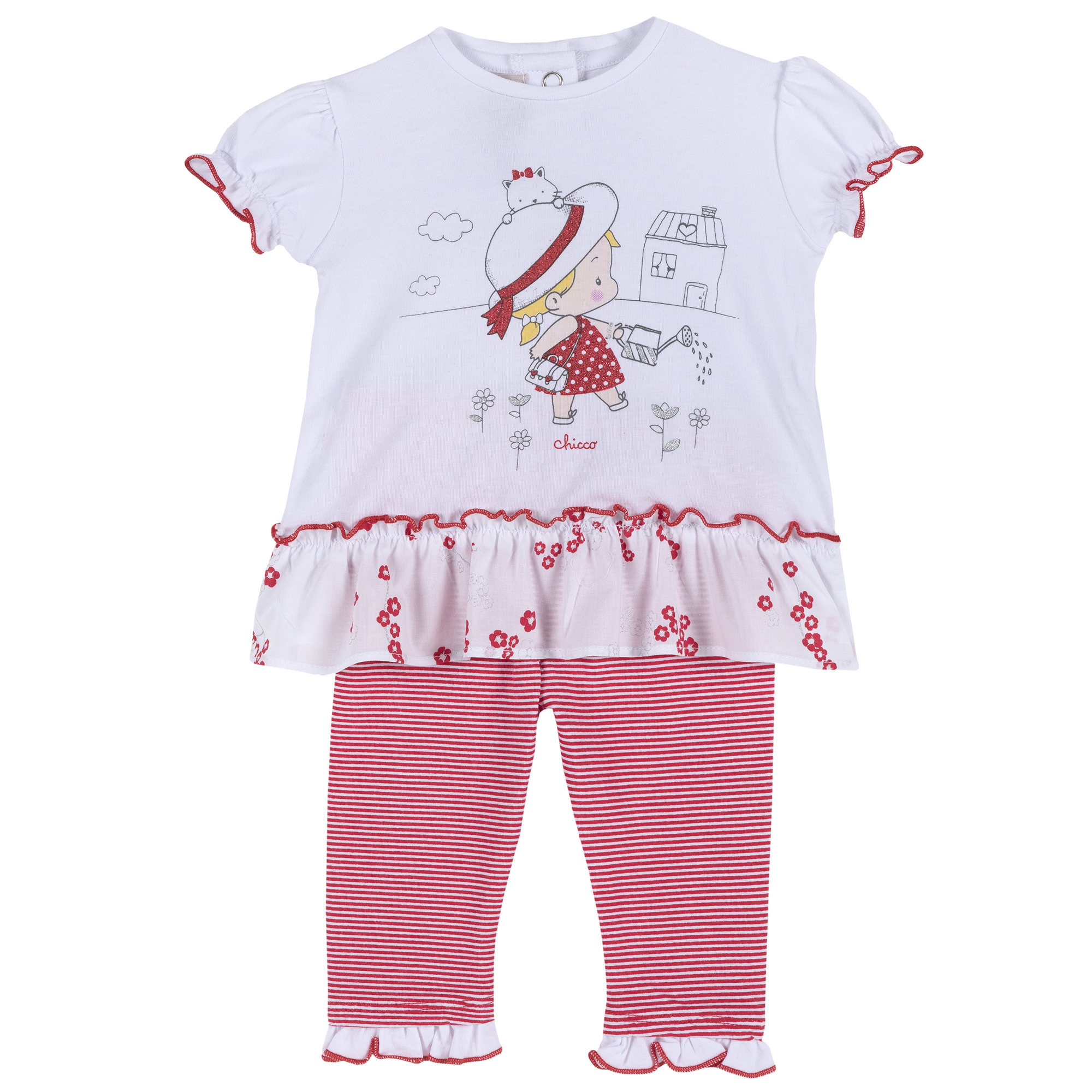 Set tricou si pantalon copii Chicco, alb cu rosu, 77866 din categoria Set doua piese