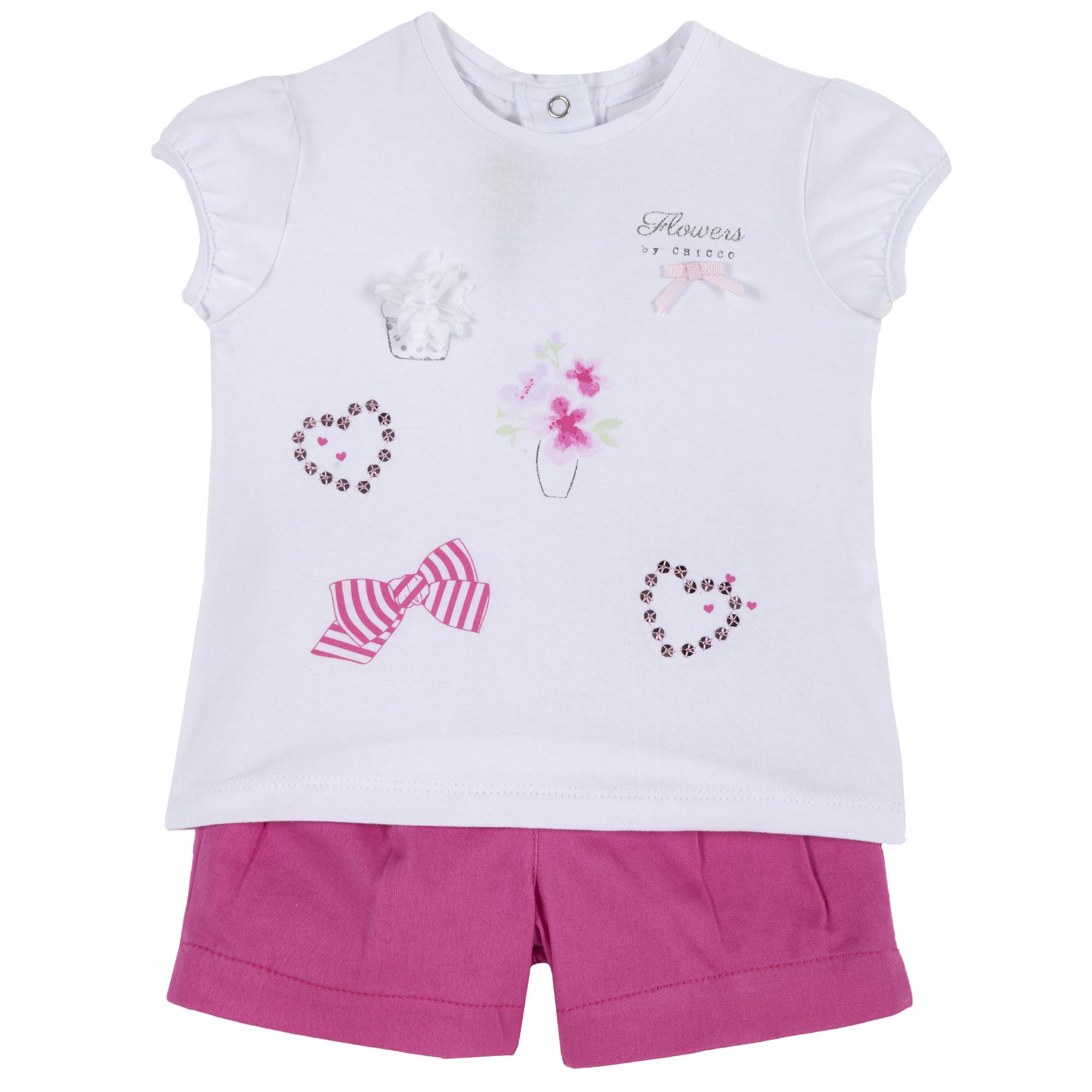 Set Tricou Si Pantalon Scurt Copii Chicco, Roz, 76285 imagine