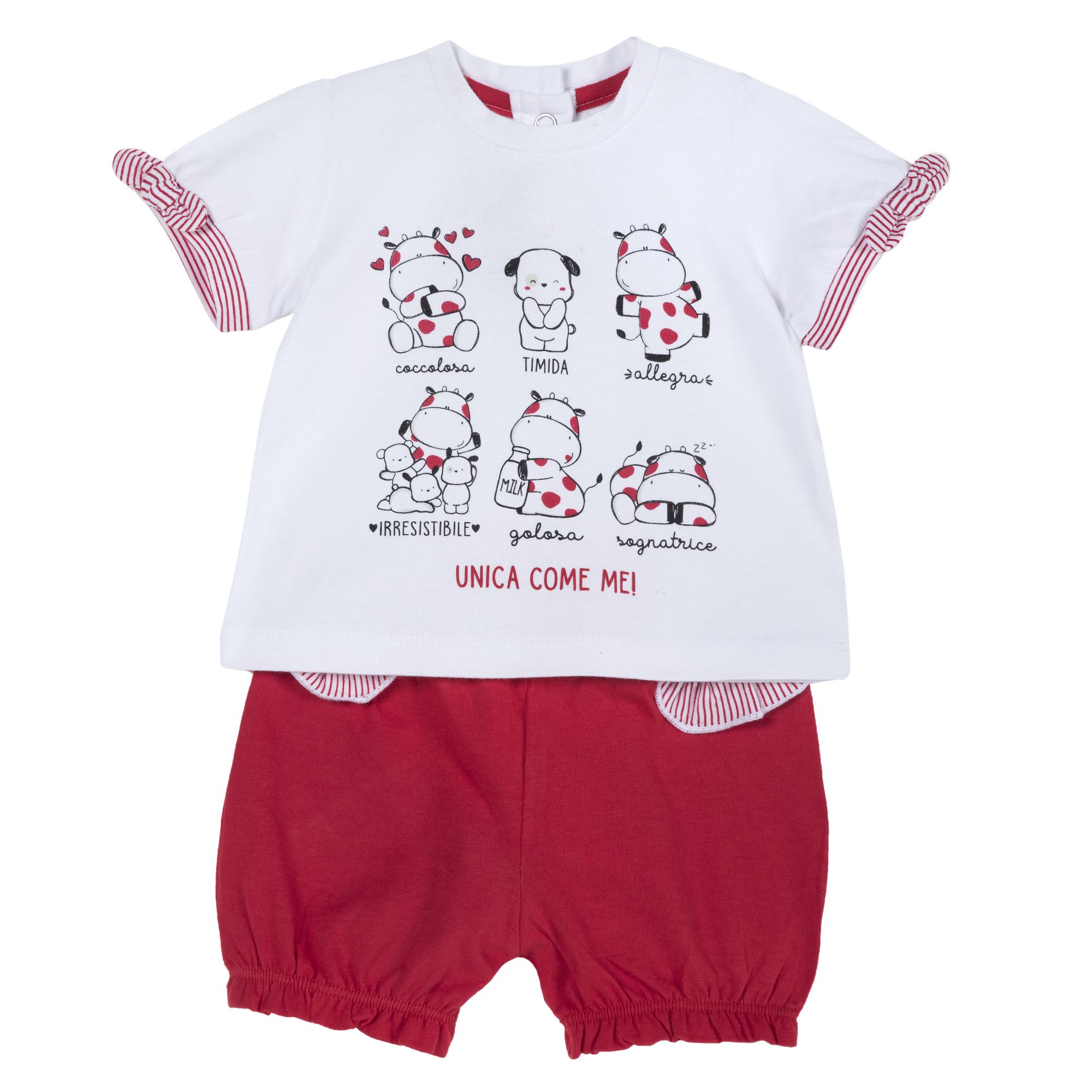 Set tricou si pantalon jerse copii Chicco, rosu cu alb, 77850