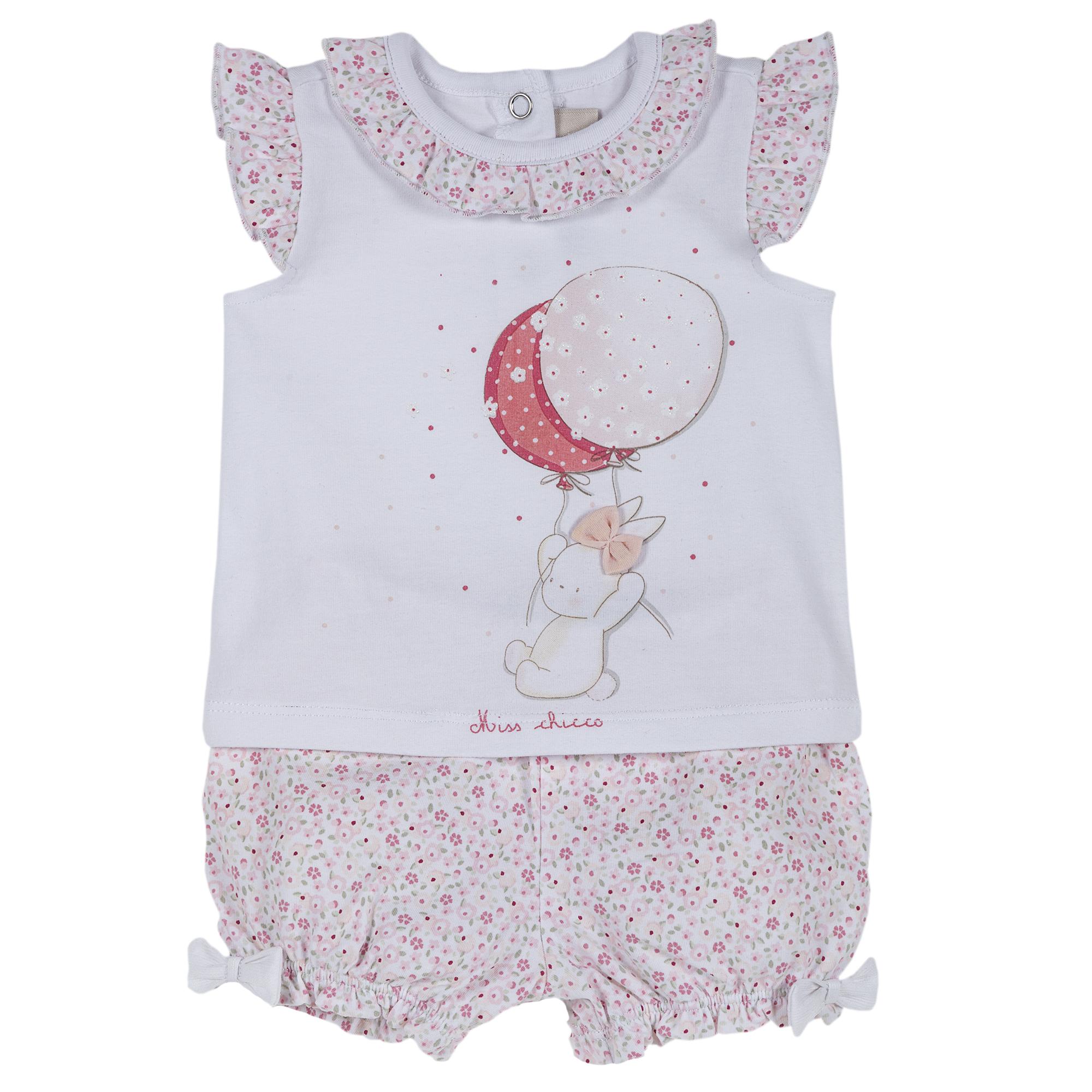 Set tricou si pantalon fete, Chicco, roz cu model, 77919