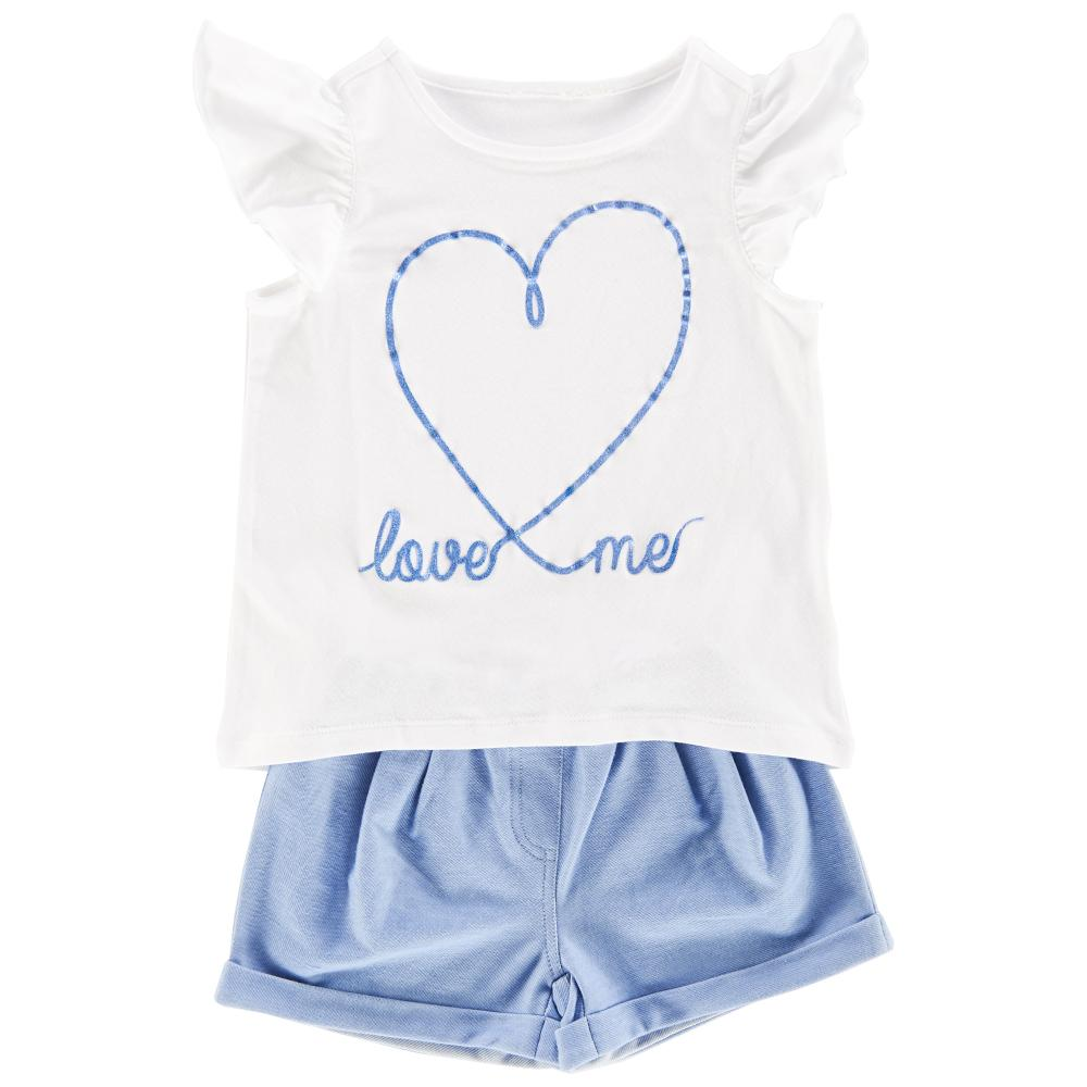 Set tricou si pantalon scurt copii Chicco, fetite, alb cu bleu din categoria Set doua piese