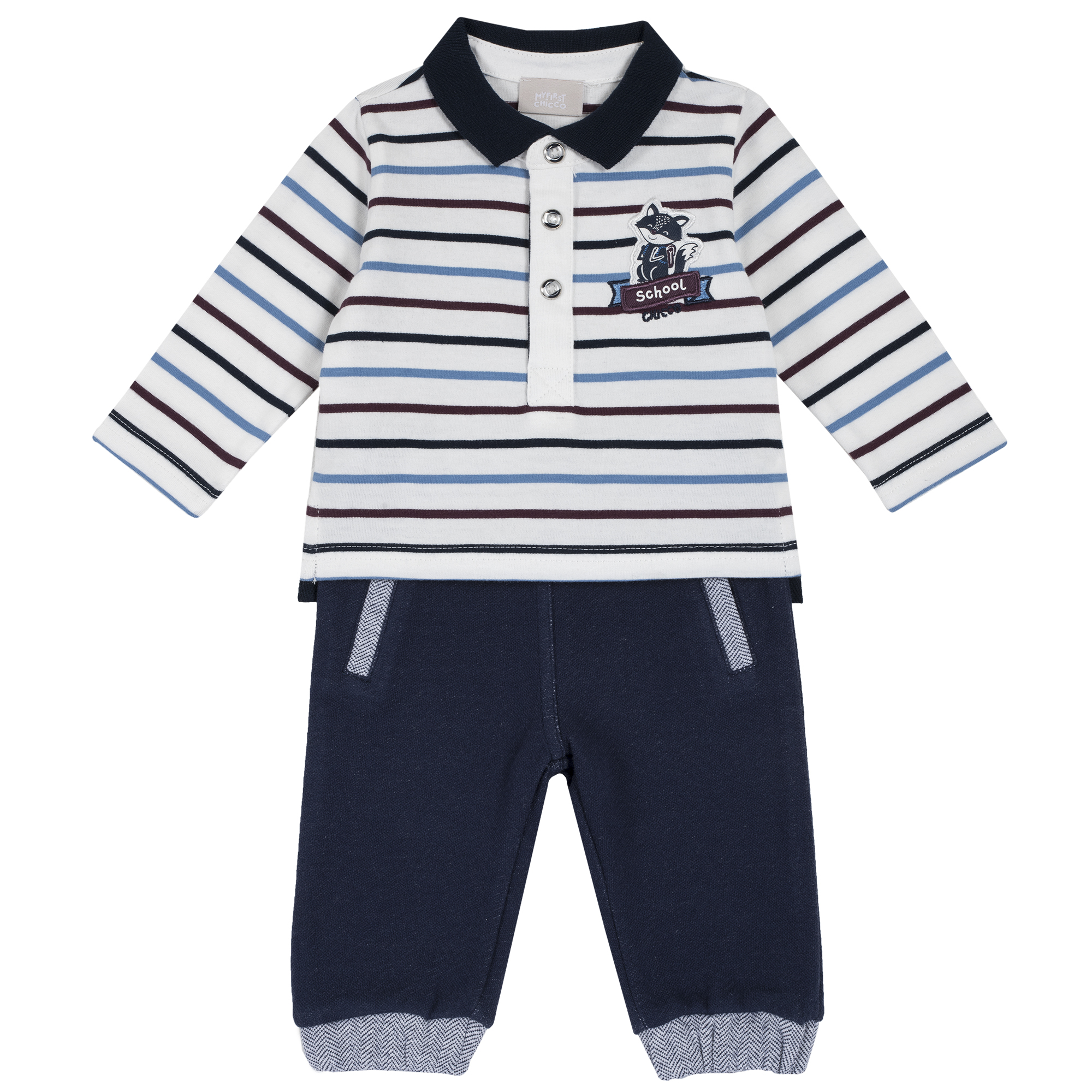 Set tricou si pantaloni copii Chicco, imprimeu animalute, 76338