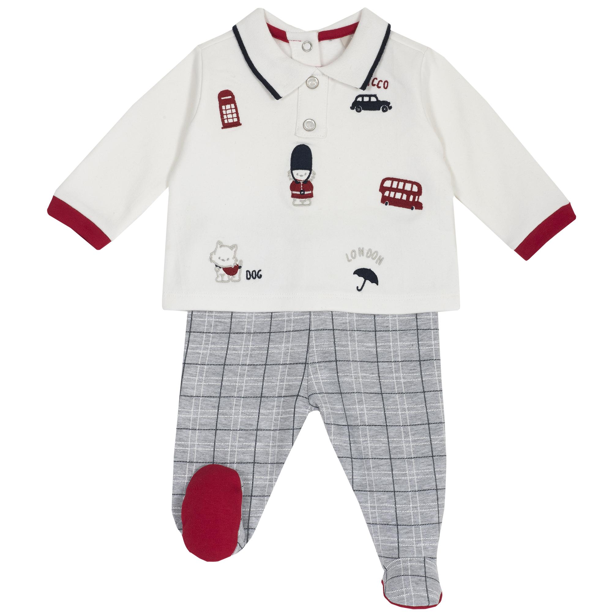 Set tricou si pantaloni copii Chicco, botosei incorporati, 77995 din categoria Set doua piese