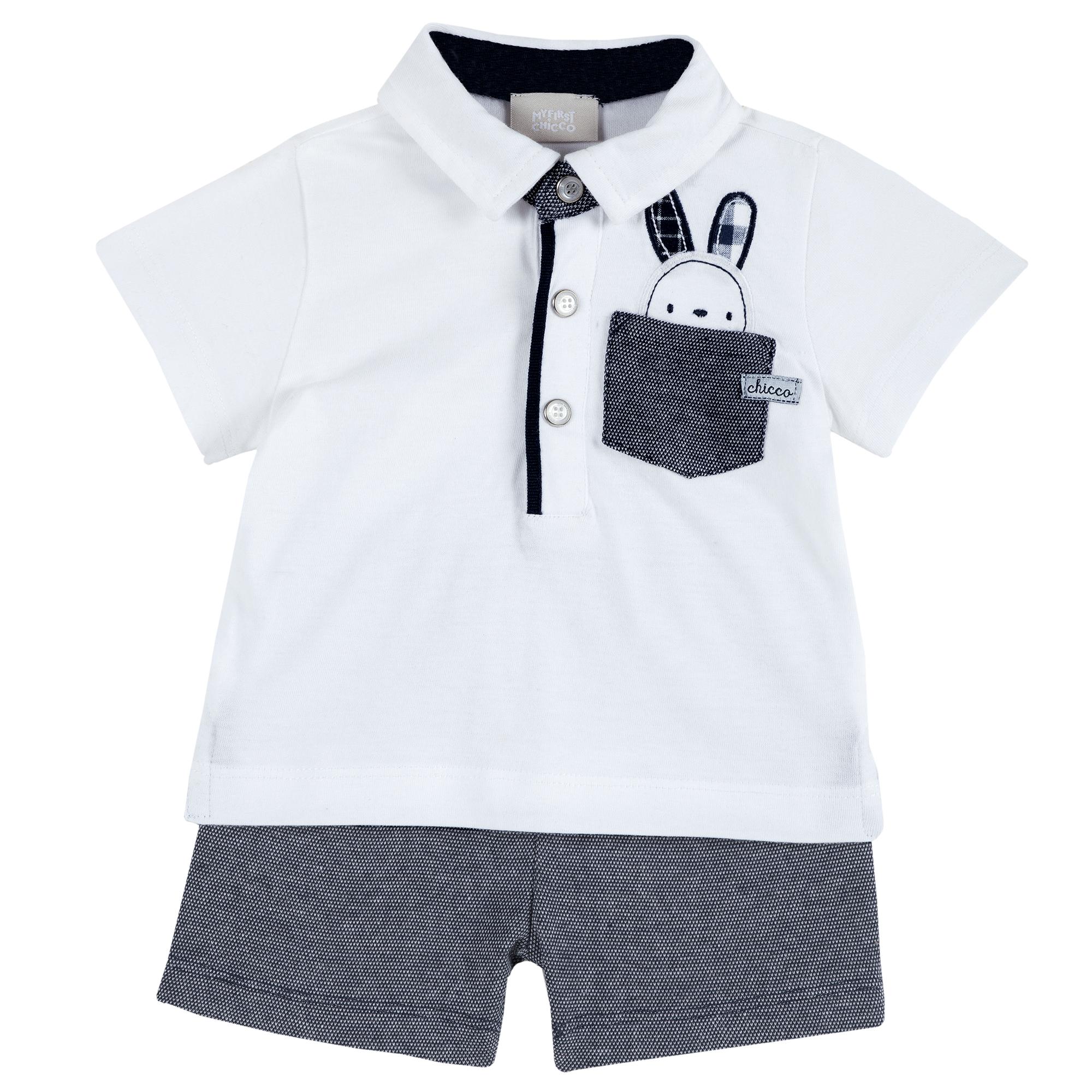 Set Tricou Si Pantalon Scurt Pentru Copii, Chicco, Alb Cu Albastru Inchis, 77895 imagine