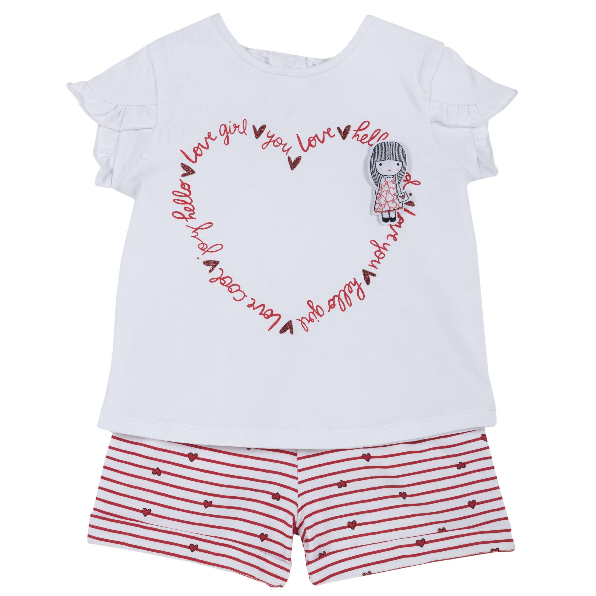 Set tricou si pantaloni scurti copii Chicco, rosu, 76277