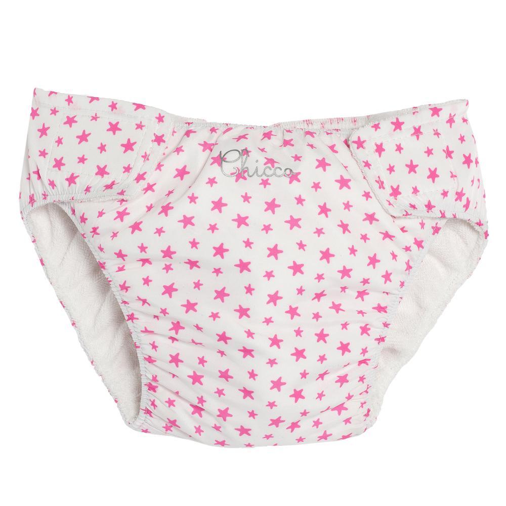 Slipi baie fetite, Chicco, alb cu roz, 92857