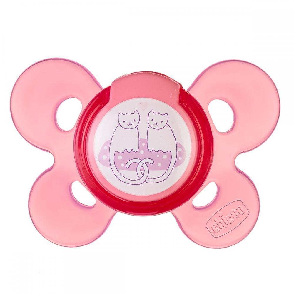 Suzeta Chicco silicon Physio Comfort, forma ortodontica, 6-12 luni, roz