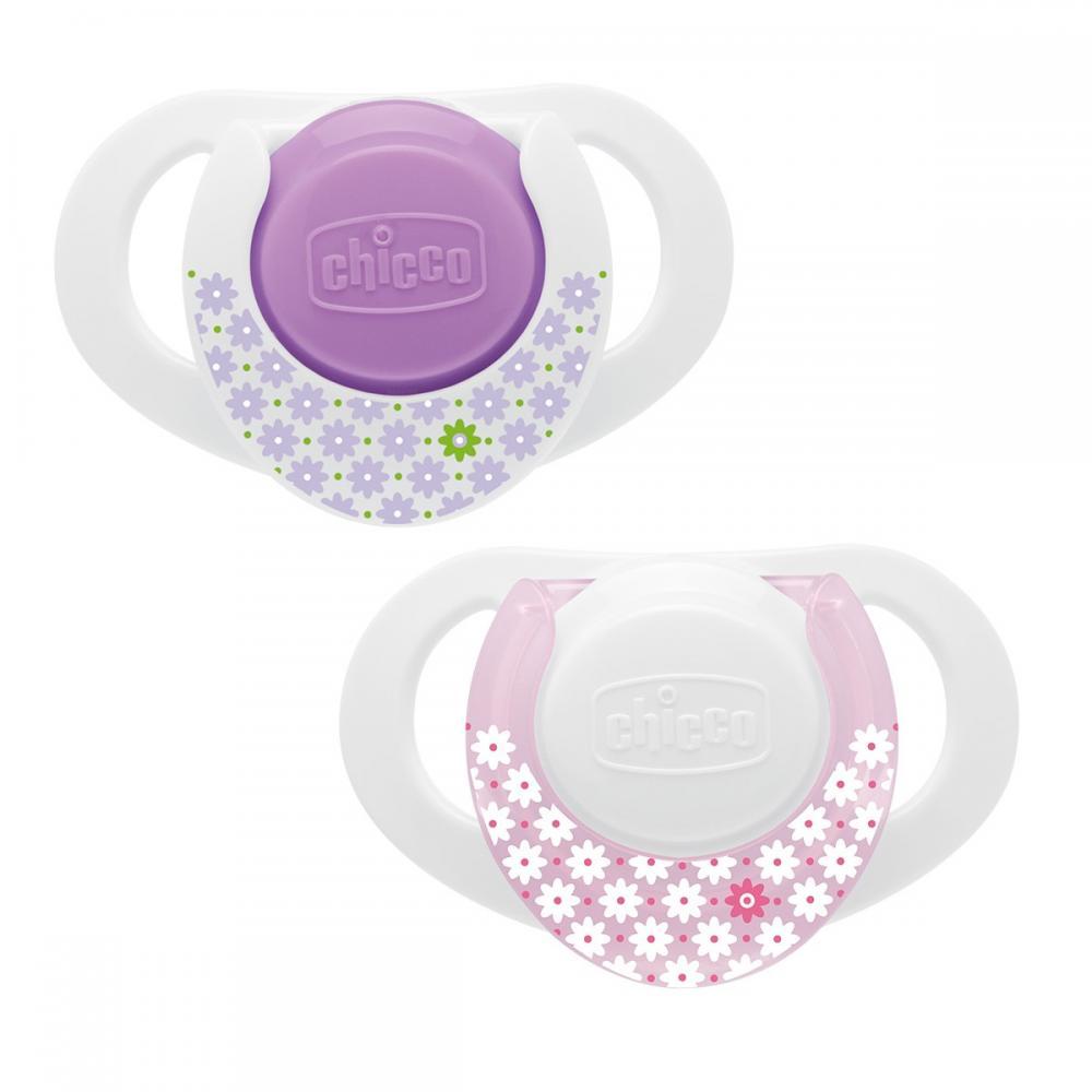 Suzeta Chicco silicon Physio Compact, forma ergonomica, 0-6luni, 2buc, pink
