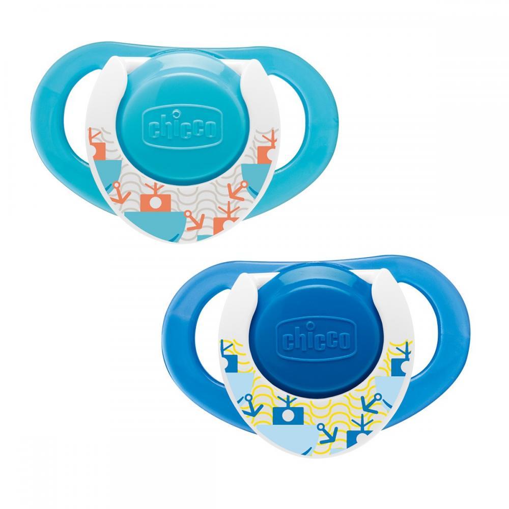 Chicco Suzeta Chicco silicon Physio Compact forma ergonomica 12luni+ 2buc blue