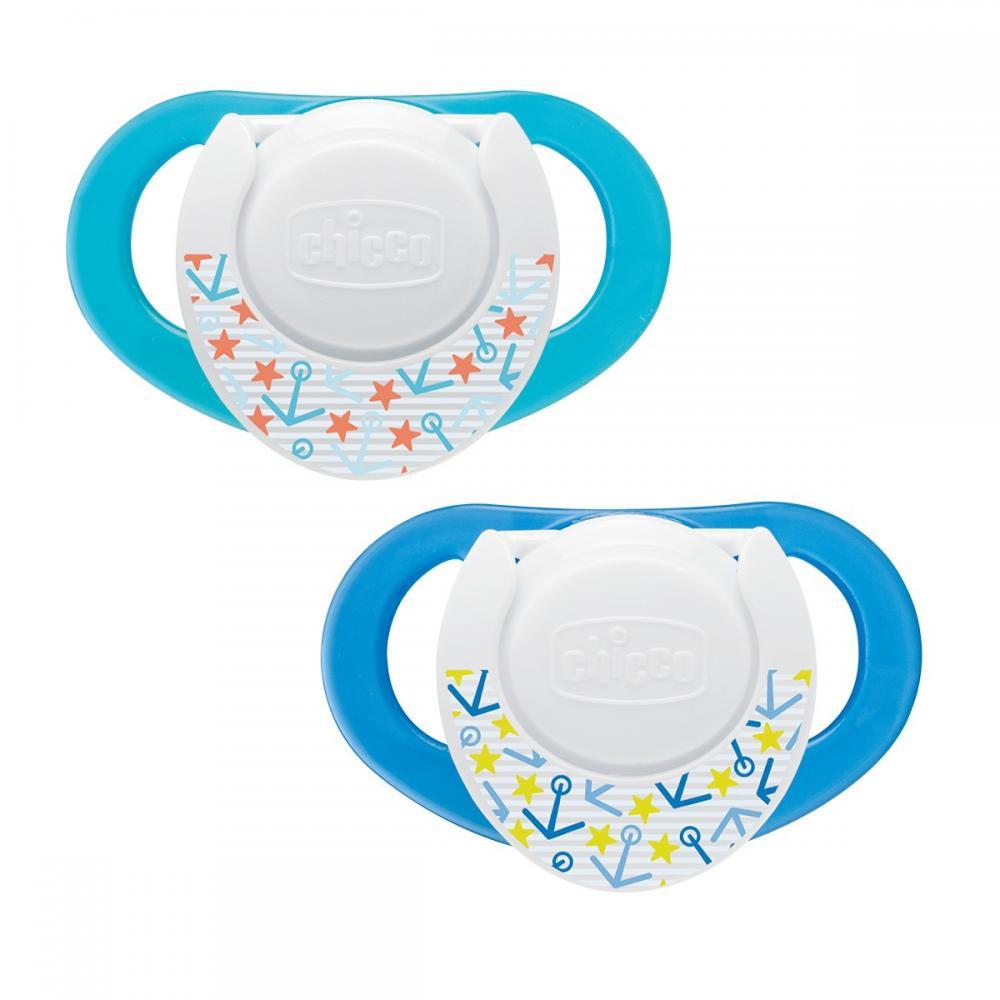 Suzeta Chicco silicon Physio Compact, forma ergonomica, 6-12luni, 2buc, blue