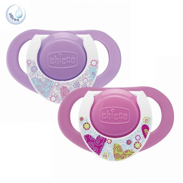 Suzeta Chicco silicon Physio forma ergonomica 12luni+ doua bucati roz thumbnail