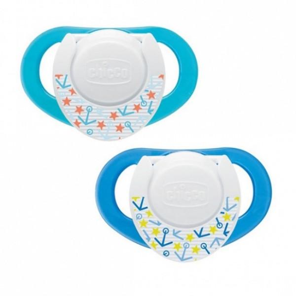Suzeta Chicco silicon Physio forma ergonomica 4luni+ doua bucati bleu