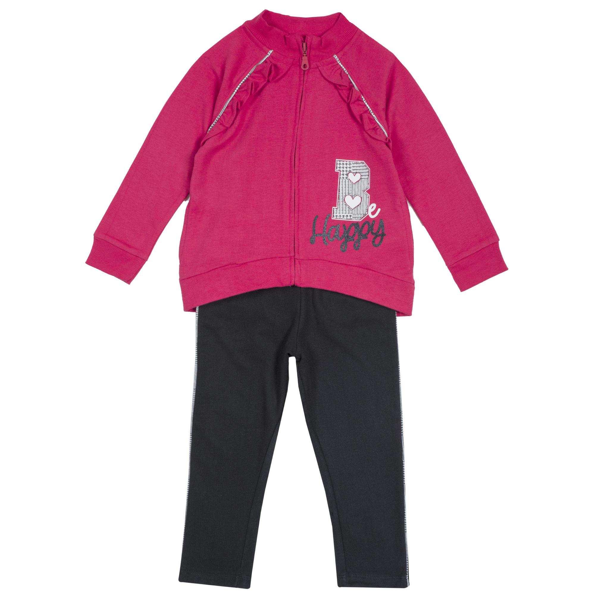 Trening copii Chicco, hanorac si pantalon, negru cu roz, 78756