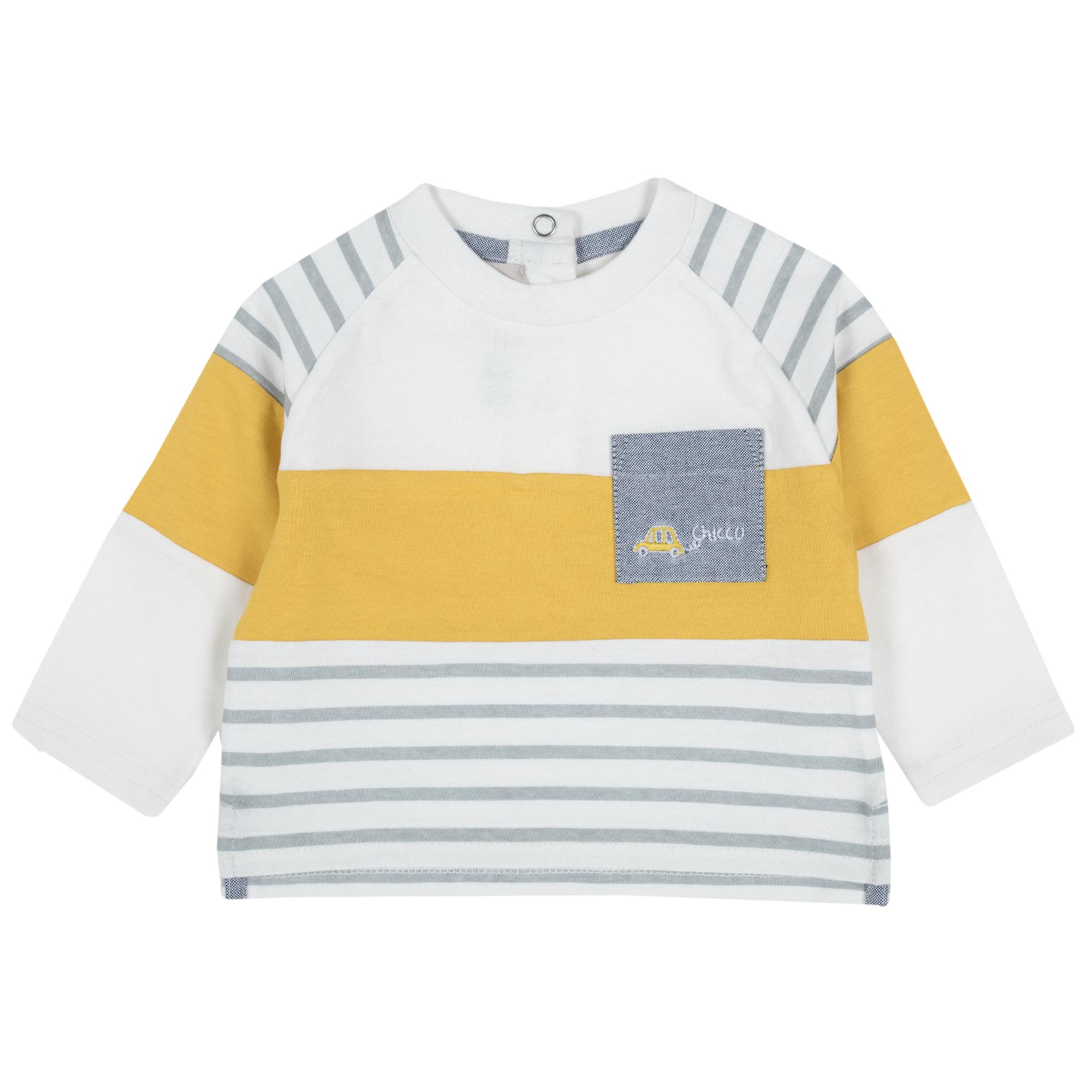 Tricou copii Chicco, alb cu galben