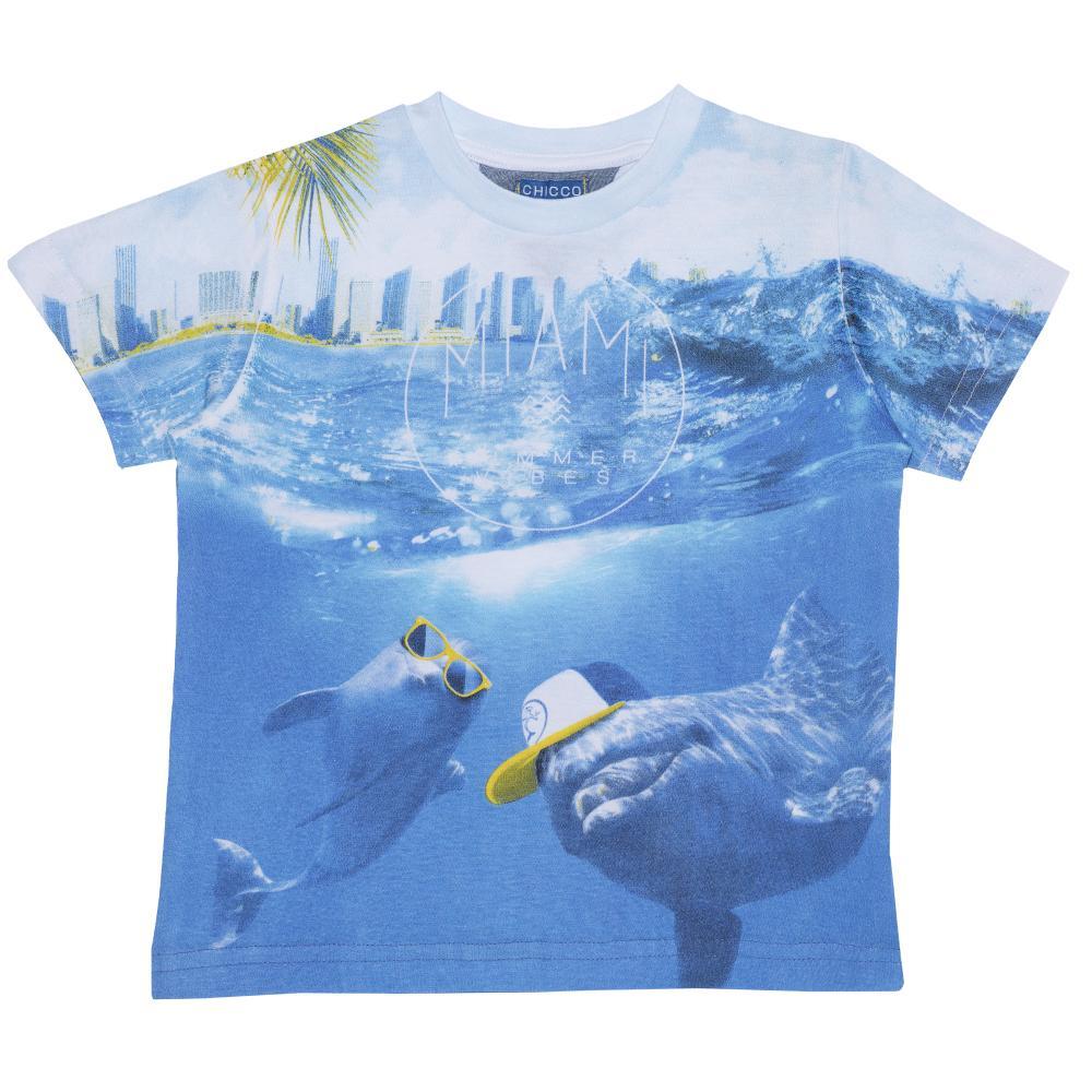 Tricou copii Chicco baieti bleu cu delfini 98