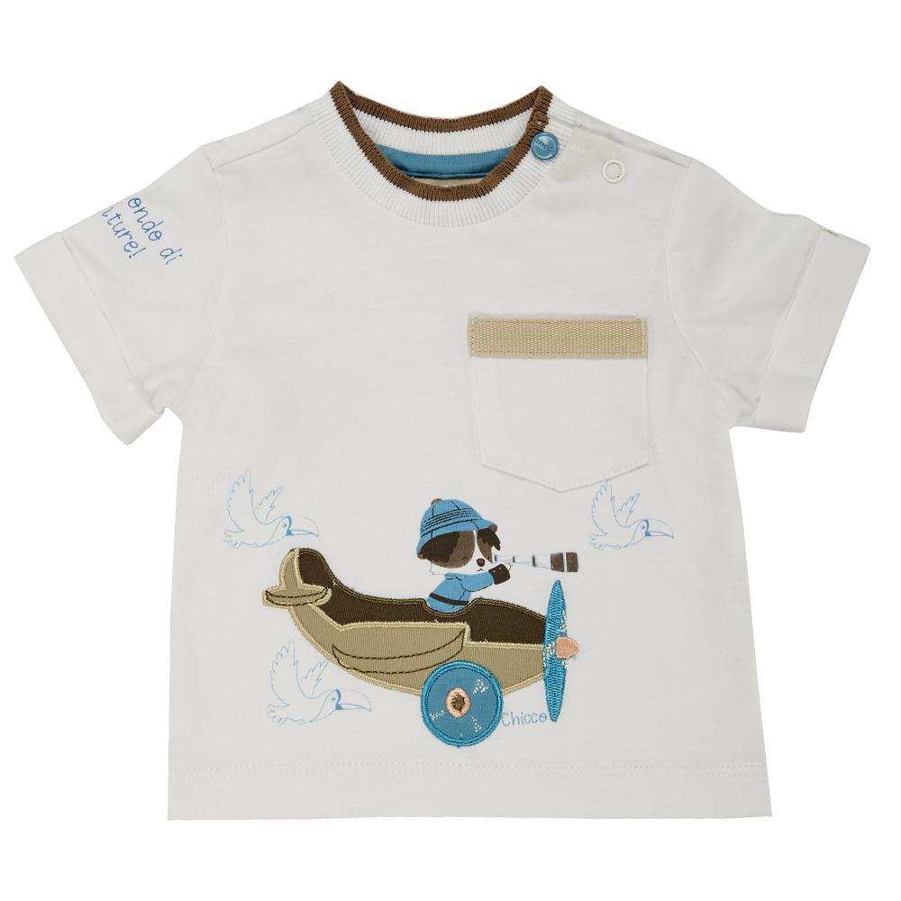 tricou copii chicco, baieti, maneca scurta, alb