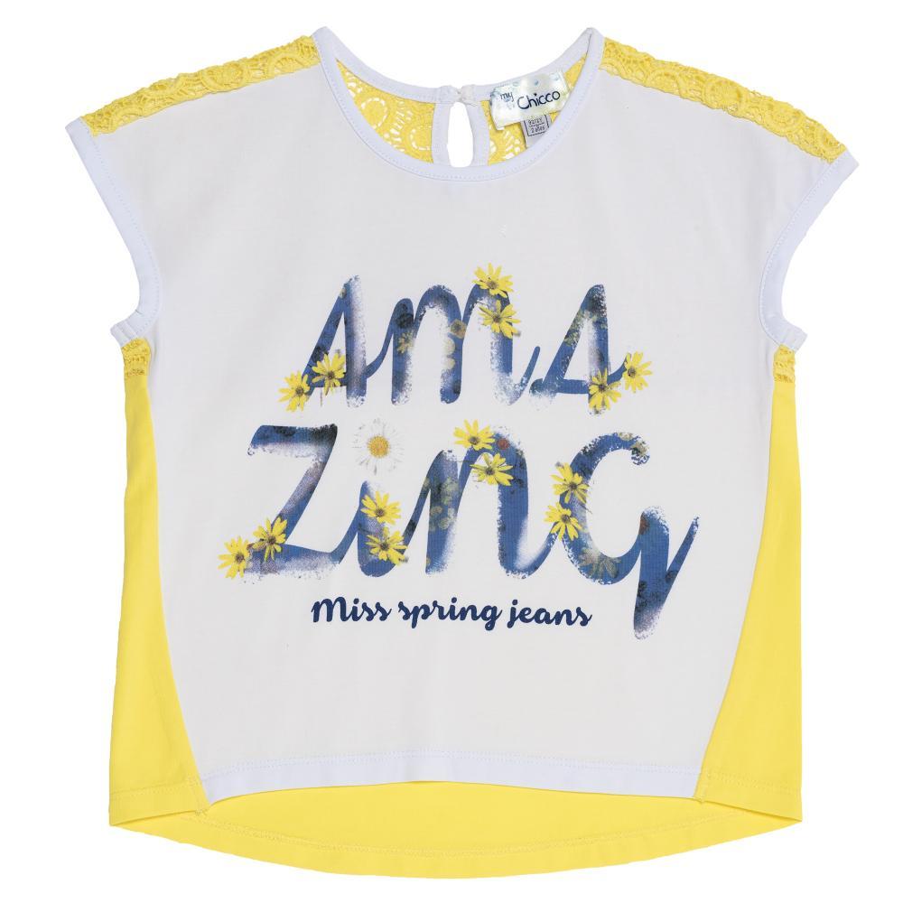Tricou copii Chicco, fara maneci, fete, alb cu galben, 61951