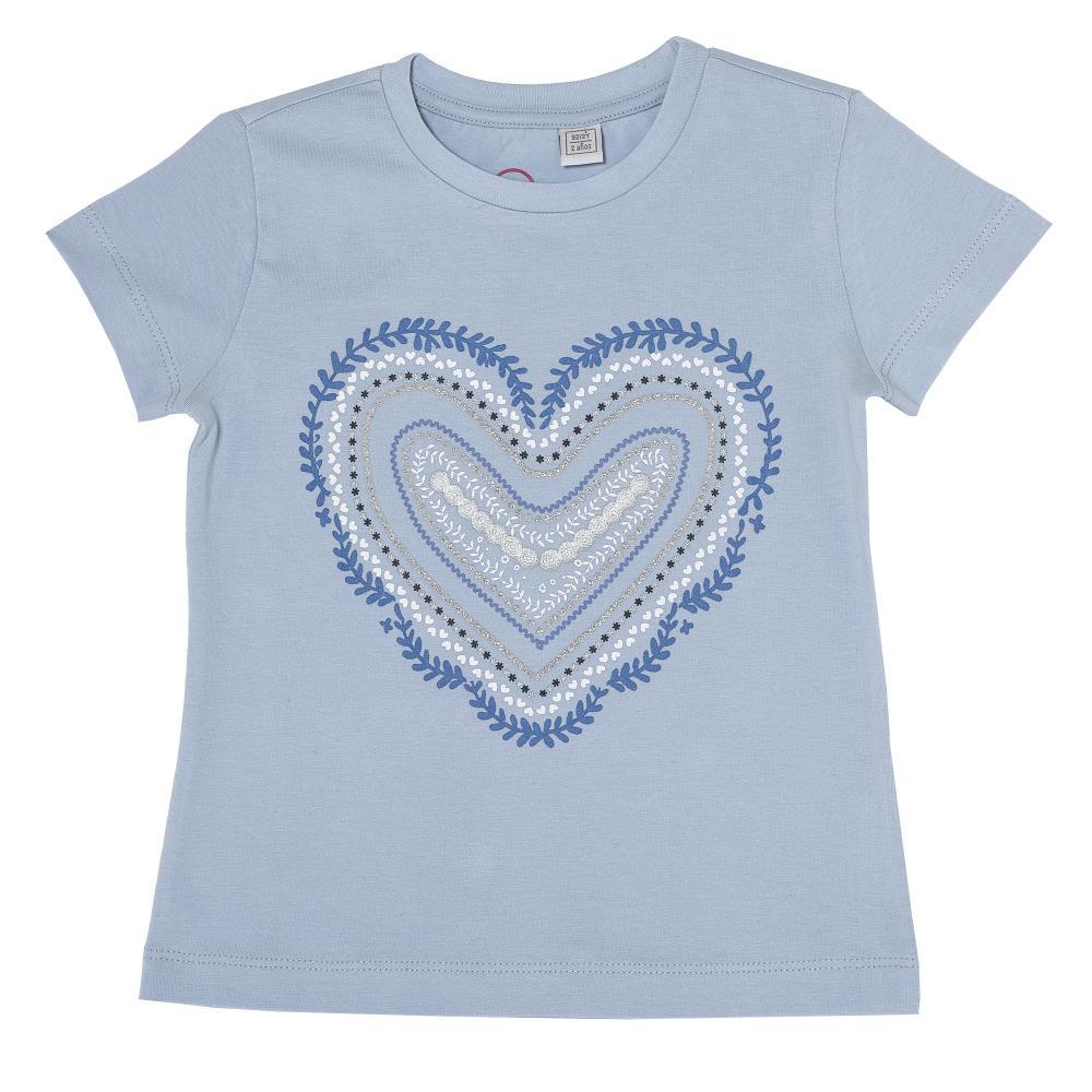 Tricou copii Chicco, fete, bleu cu inimioara, 61910 din categoria Tricouri copii