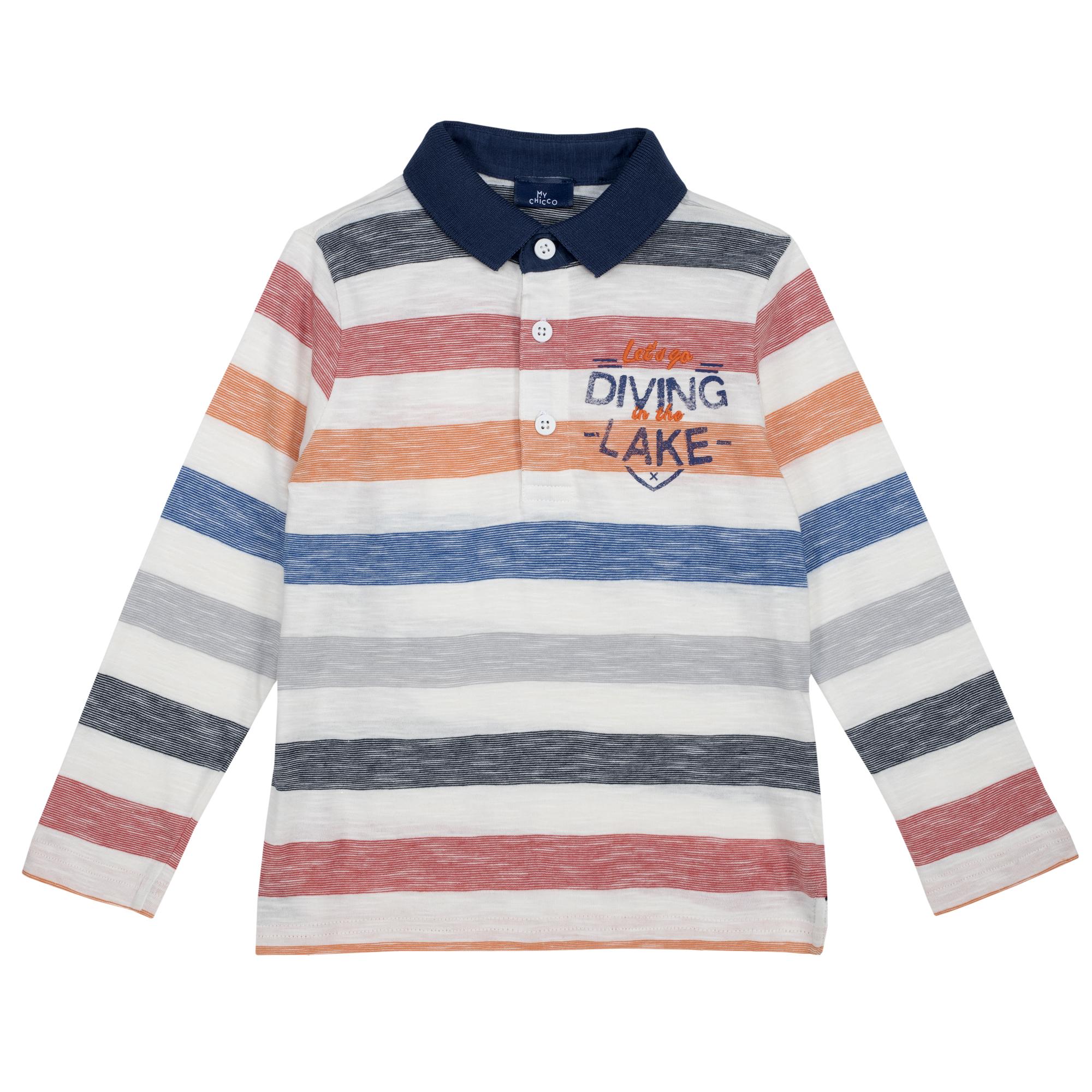 Tricou copii Chicco, maneca lunga, alb cu dungi colorate, 33498 din categoria Tricouri copii