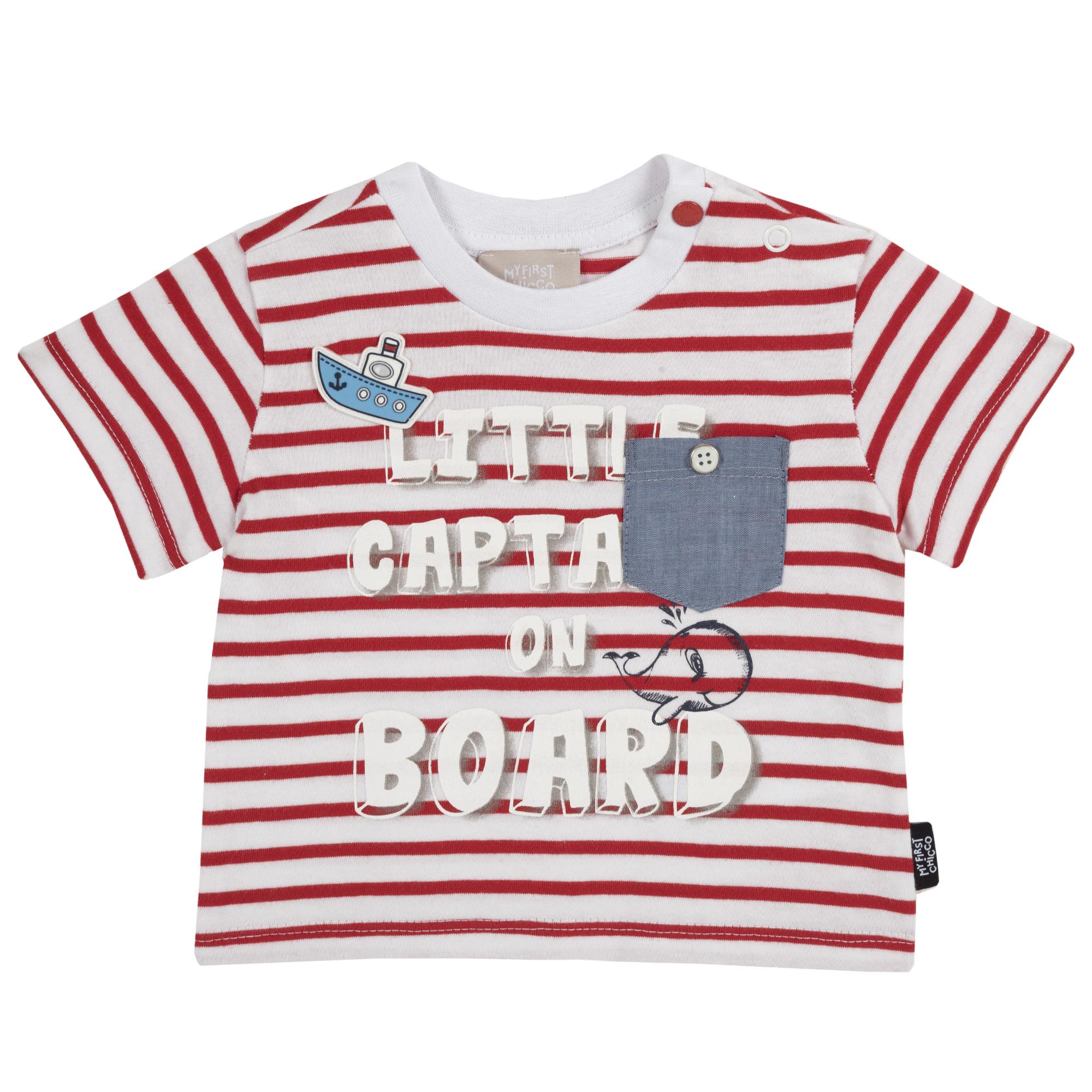 Tricou copii Chicco, maneca scurta, alb cu rosu, 06680 din categoria Tricouri copii