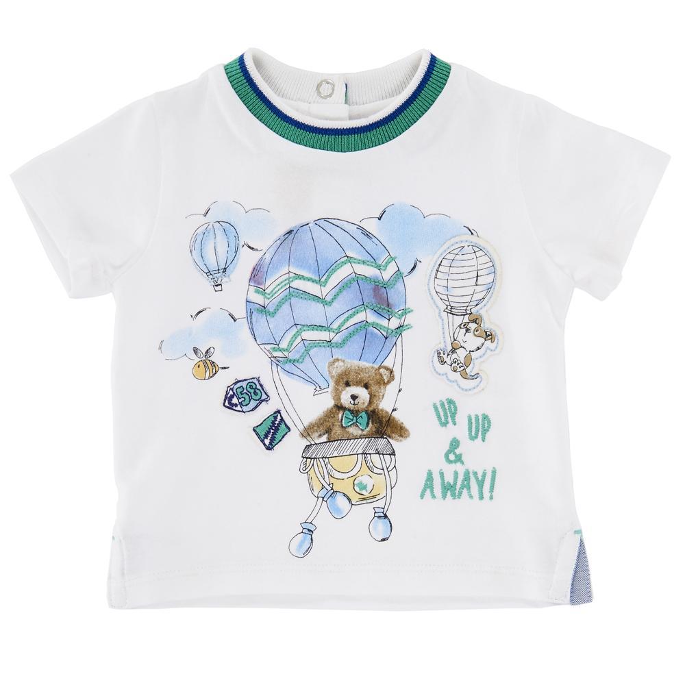 Tricou Copii Chicco, Maneca Scurta, Alb Cu Verde Si Albastru