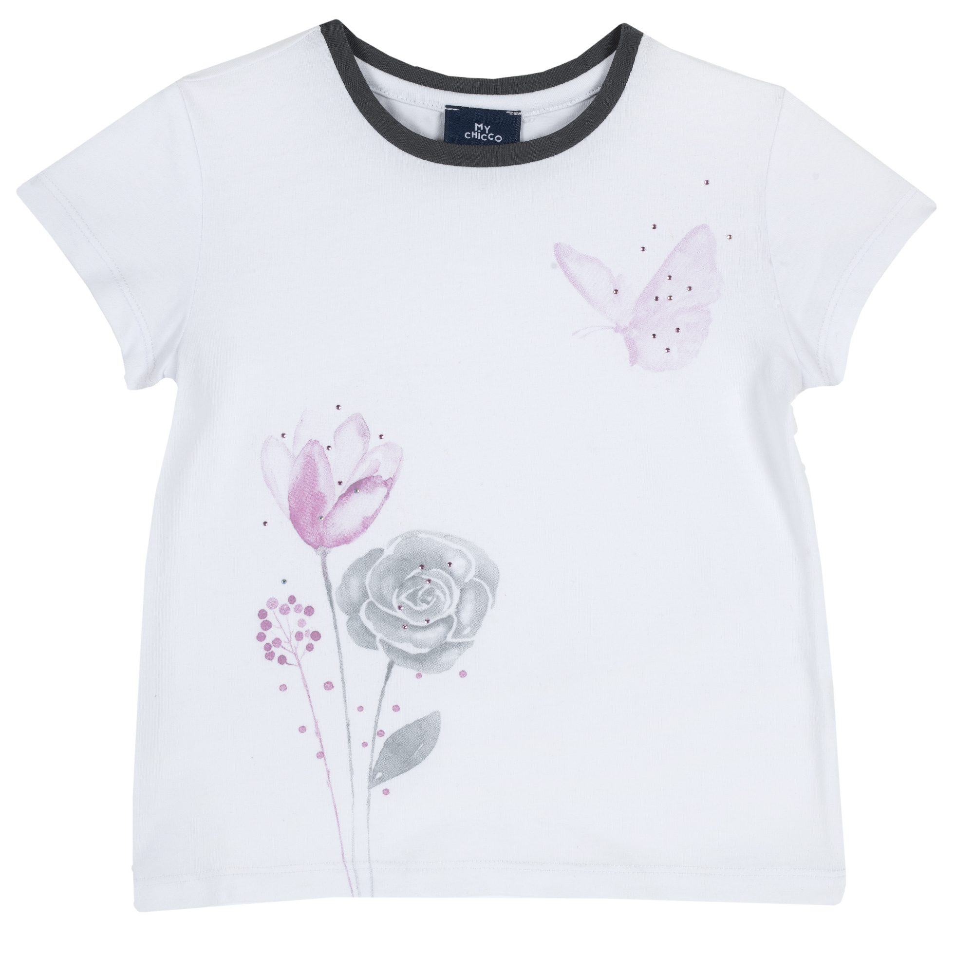 Tricou Copii Chicco, Maneca Scurta, Flori Imprimate, 06636