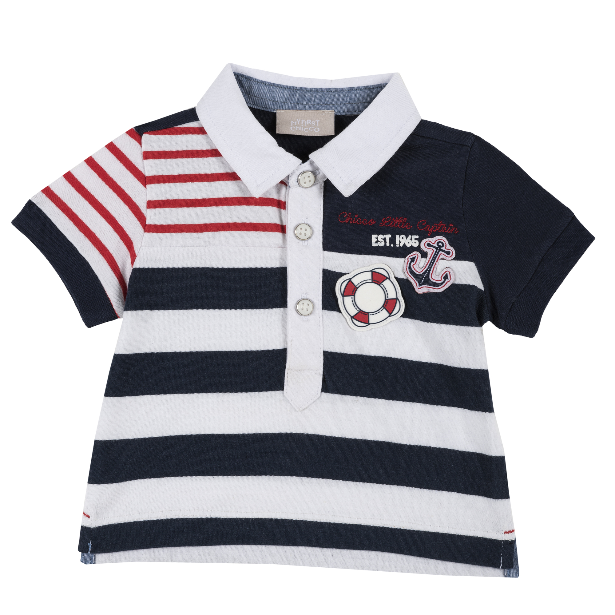 Tricou copii Chicco tip Polo, maneca scurta, alb cu bleumarin, 33496 din categoria Tricouri copii