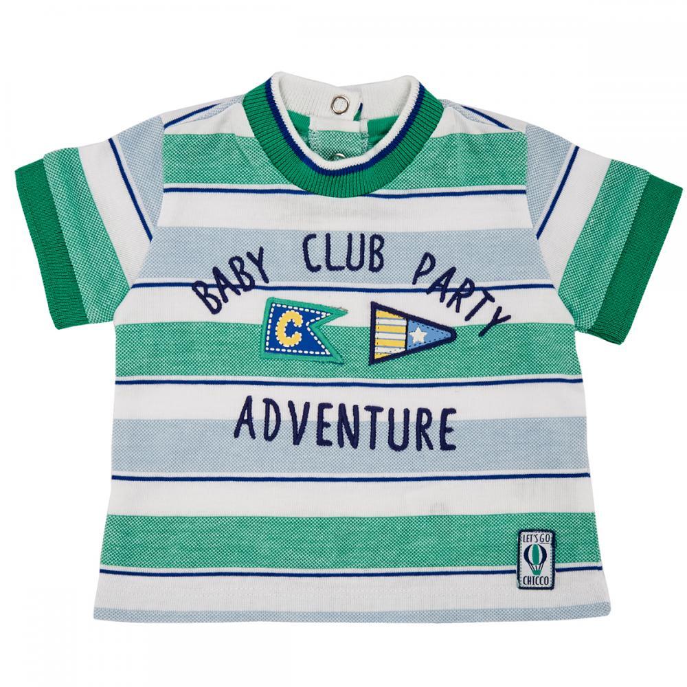 Tricou maneca scurta copii Chicco, alb cu dungi bleu si verzi