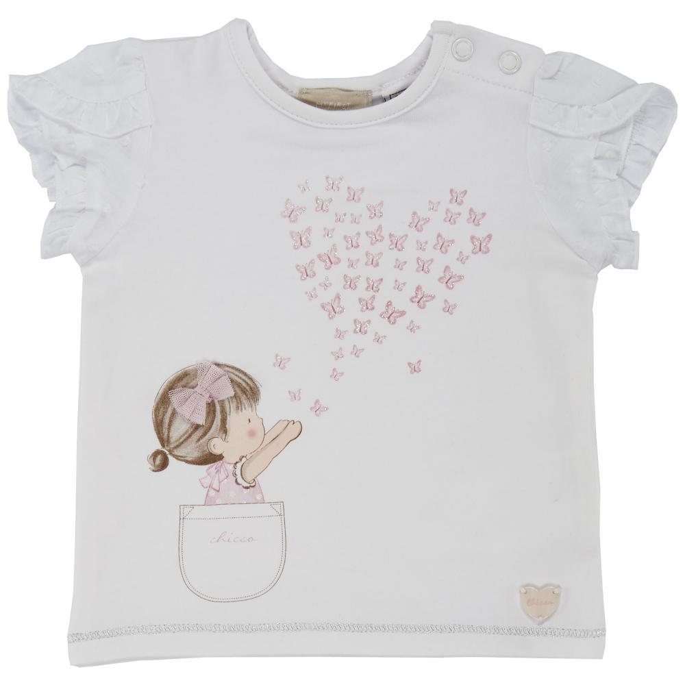 Tricou maneca scurta copii Chicco, fetite, alb, 06253
