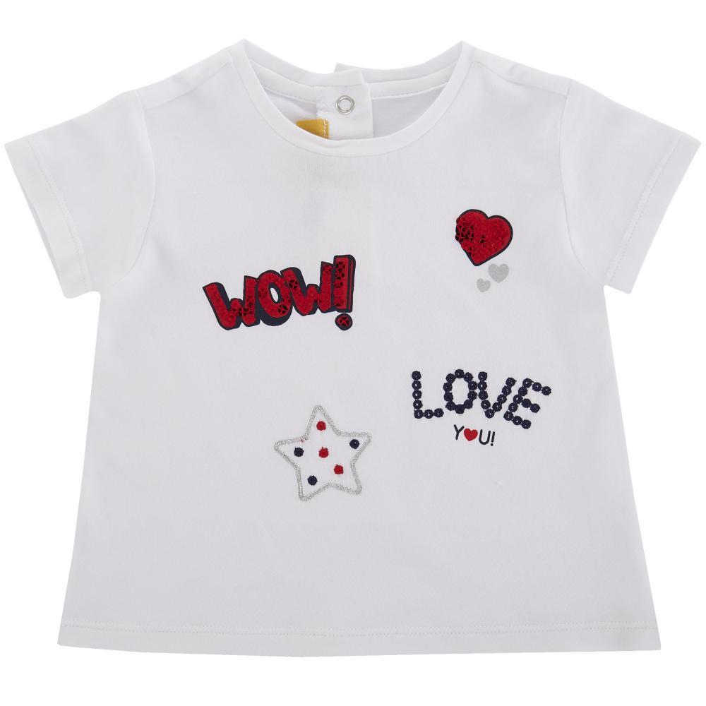 Tricou maneca scurta copii Chicco, fetite, alb, 06293