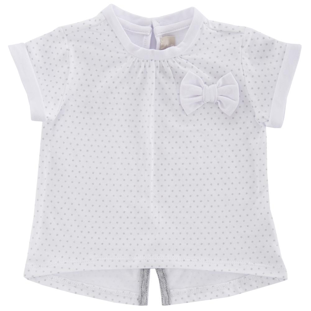 Tricou maneca scurta copii Chicco, fetite, alb, 06340